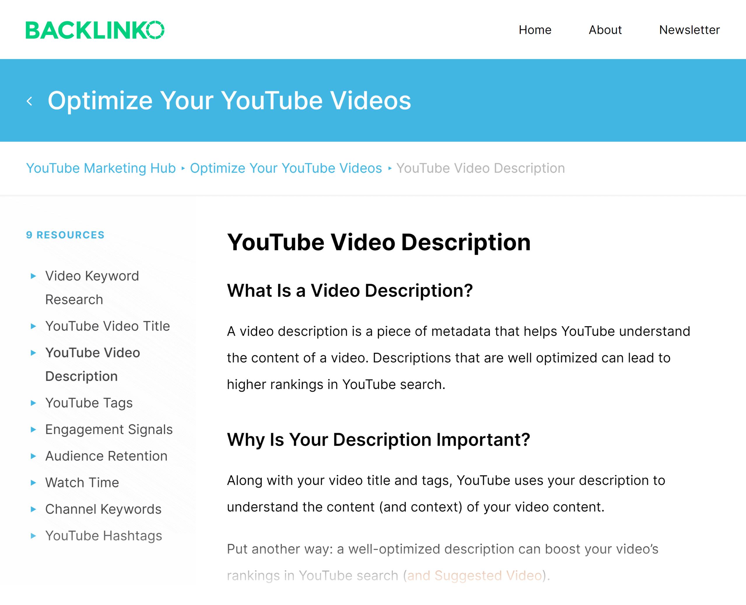 Backlinko – Hub – YouTube video description
