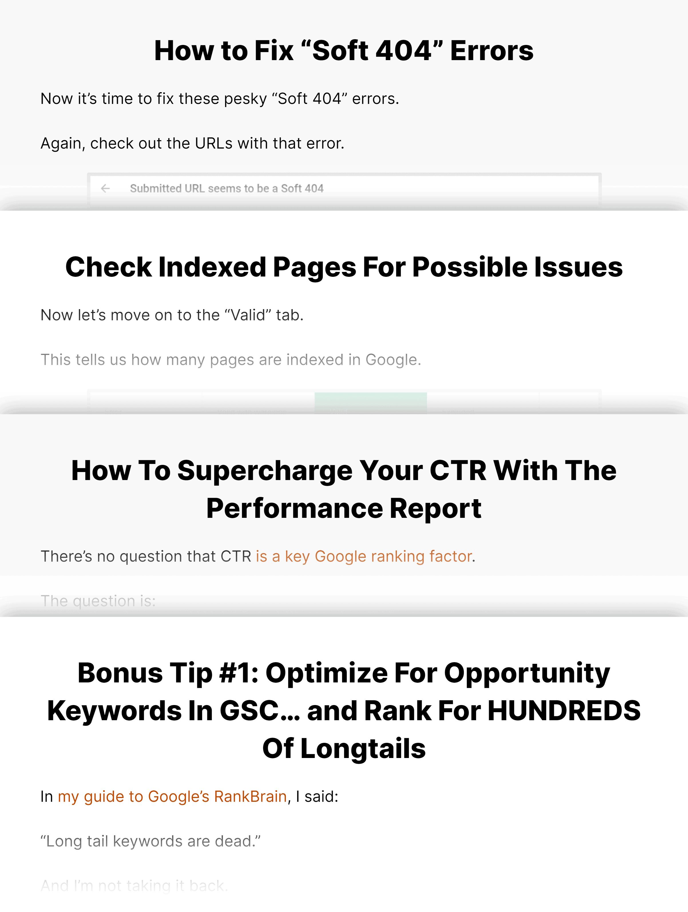 Google Search Console post content