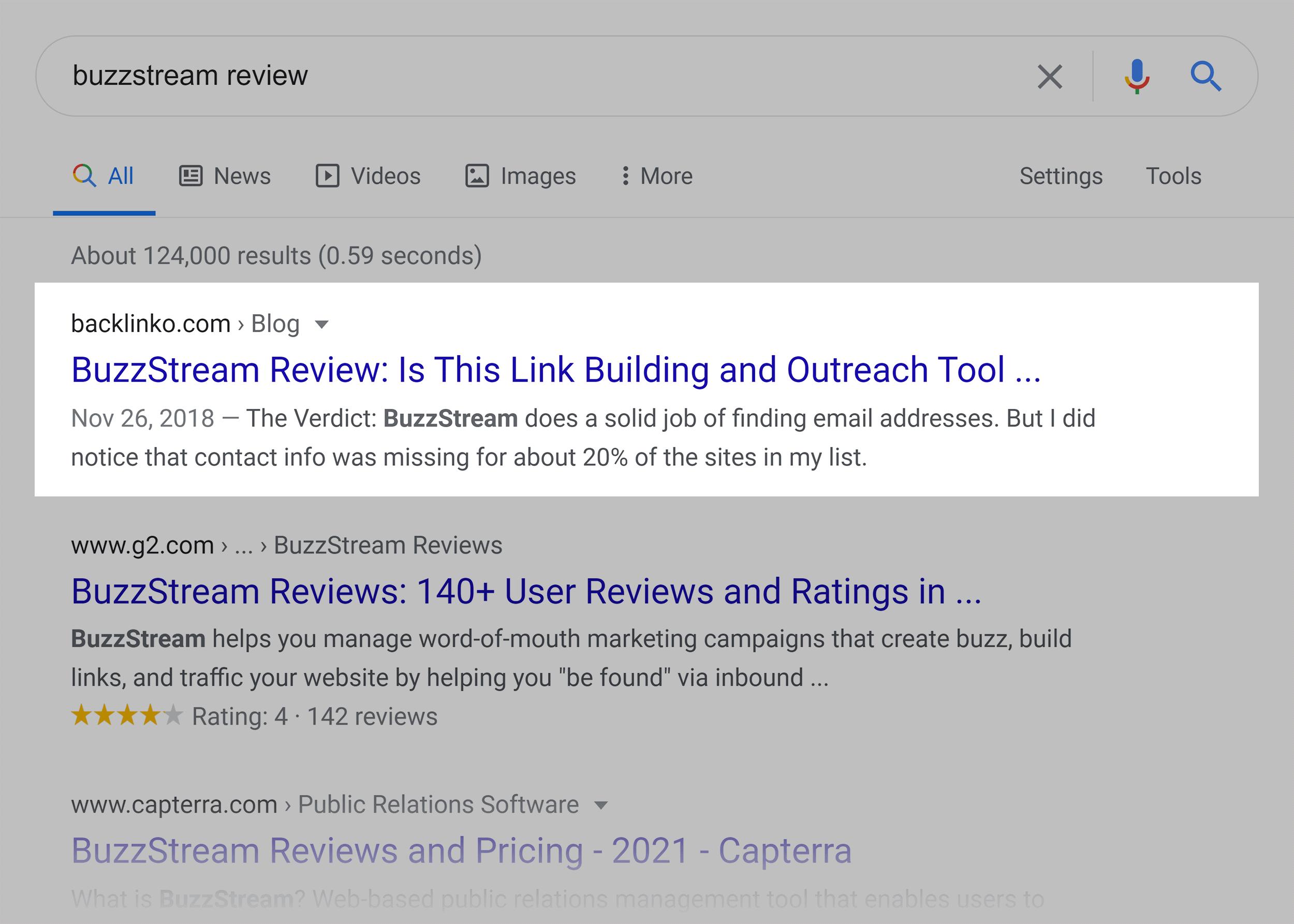 Google SERP – BuzzStream review