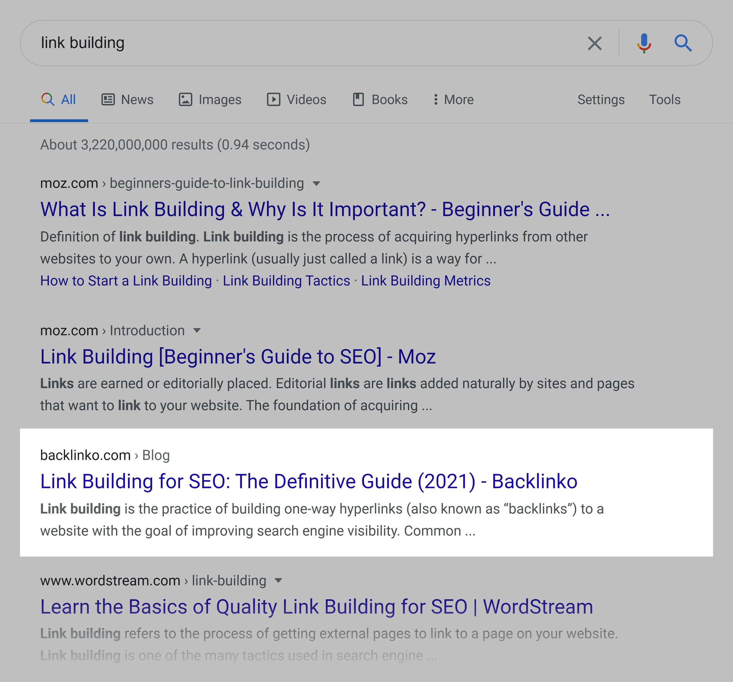 Google SERP – Link building