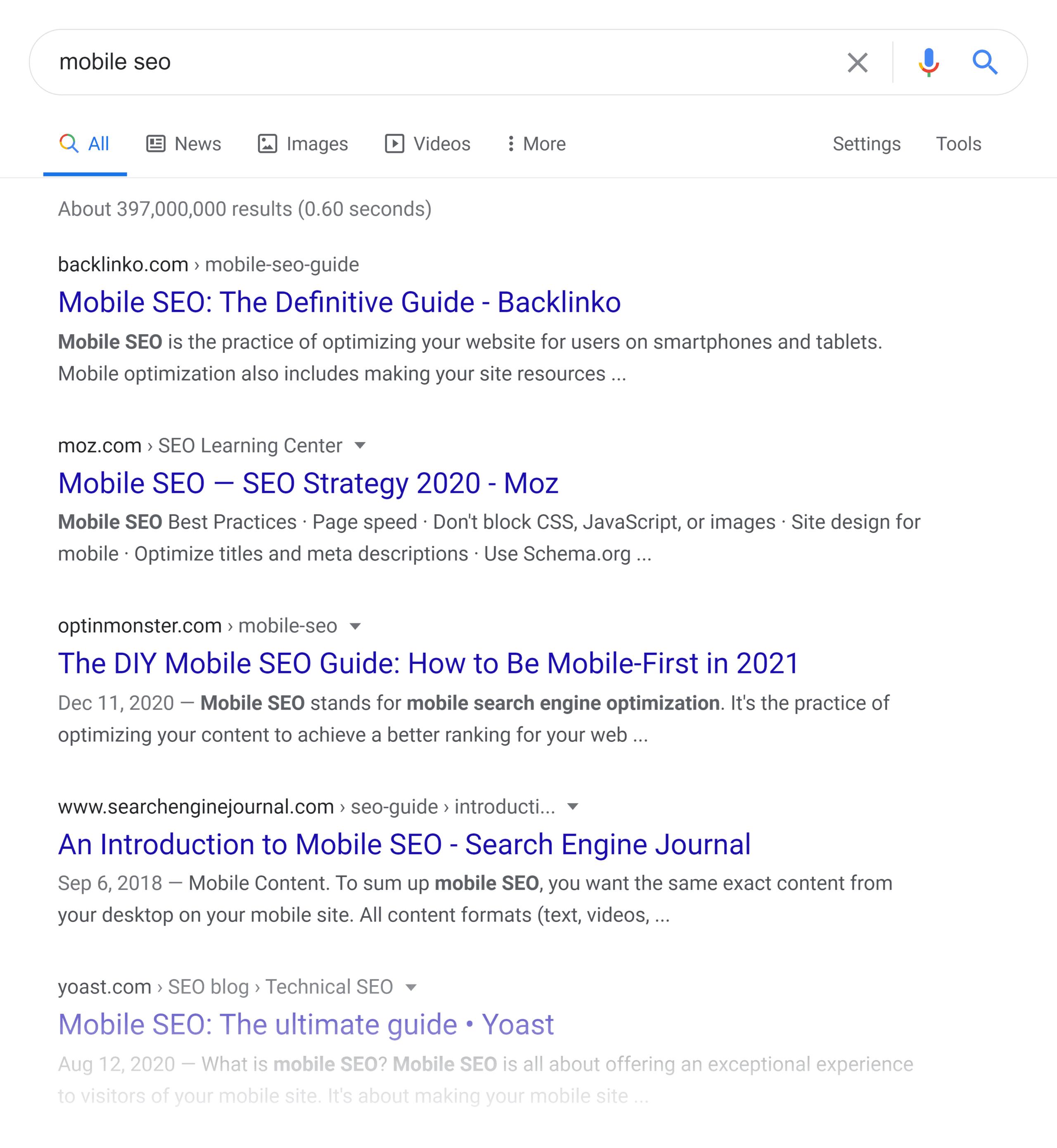 Google SERP – Mobile SEO