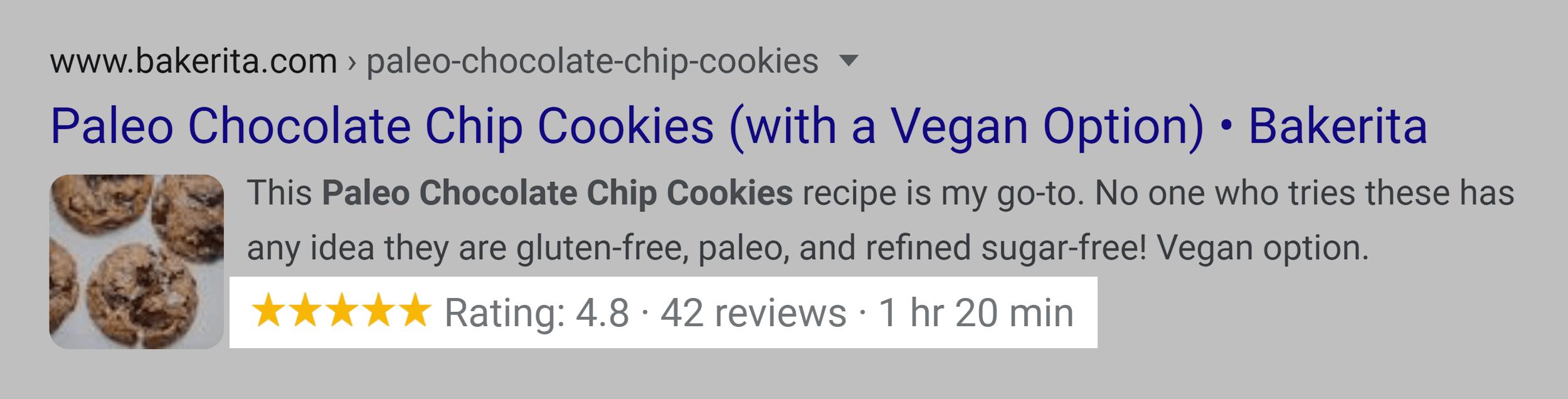 Google SERP – Rich snippet – Recipe