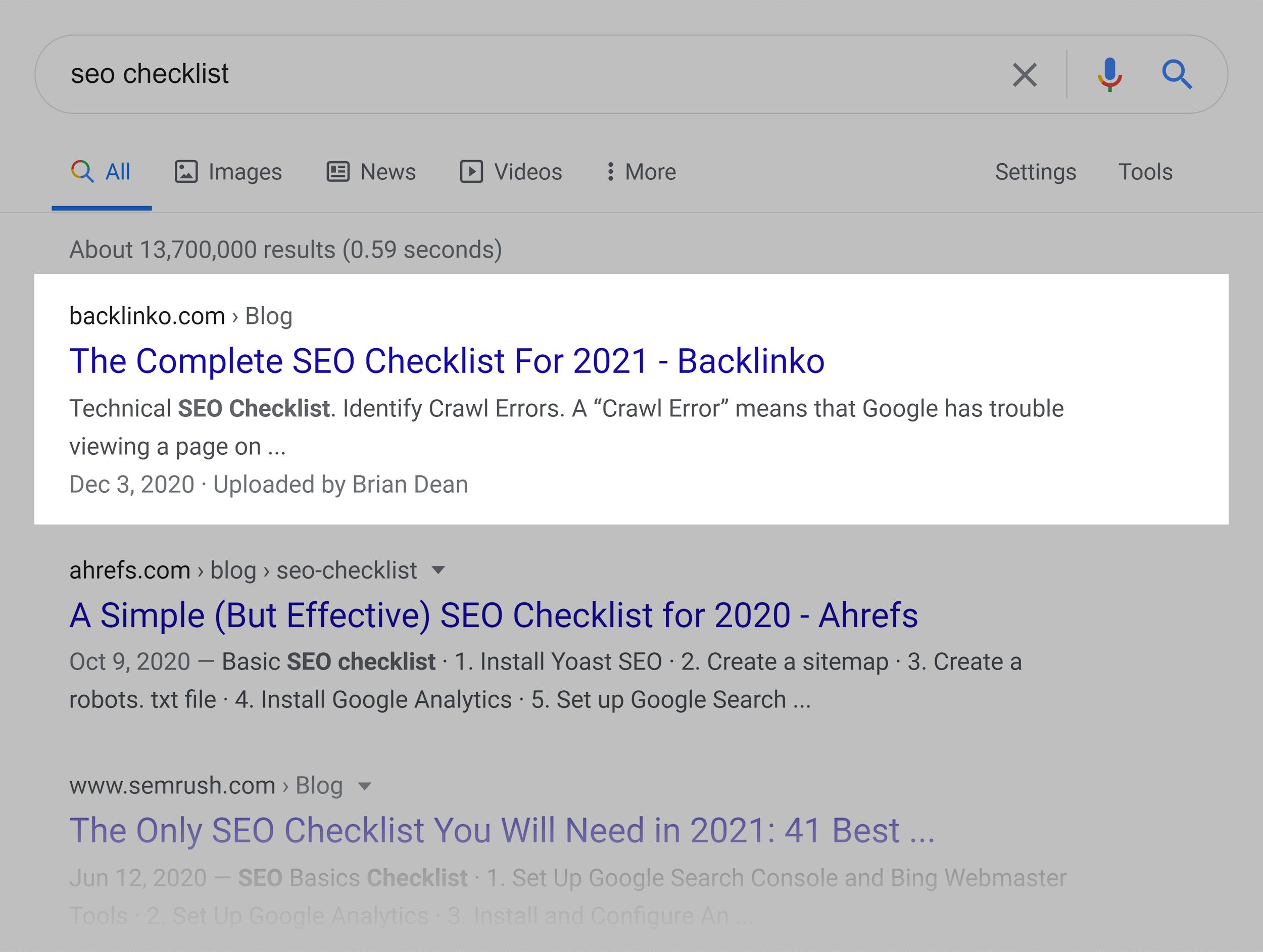 Google SERP – SEO checklist