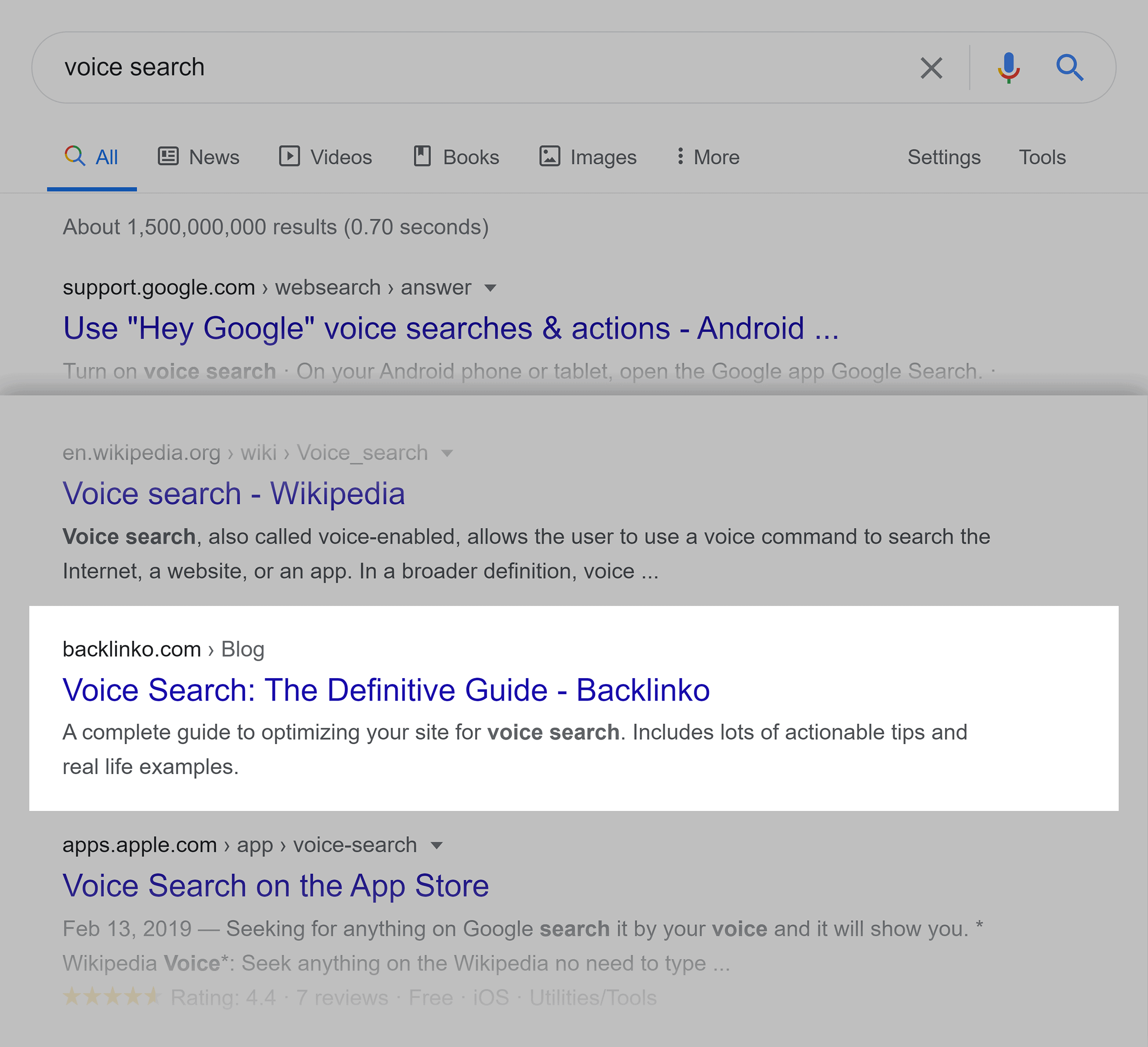 Google SERP – Voice search