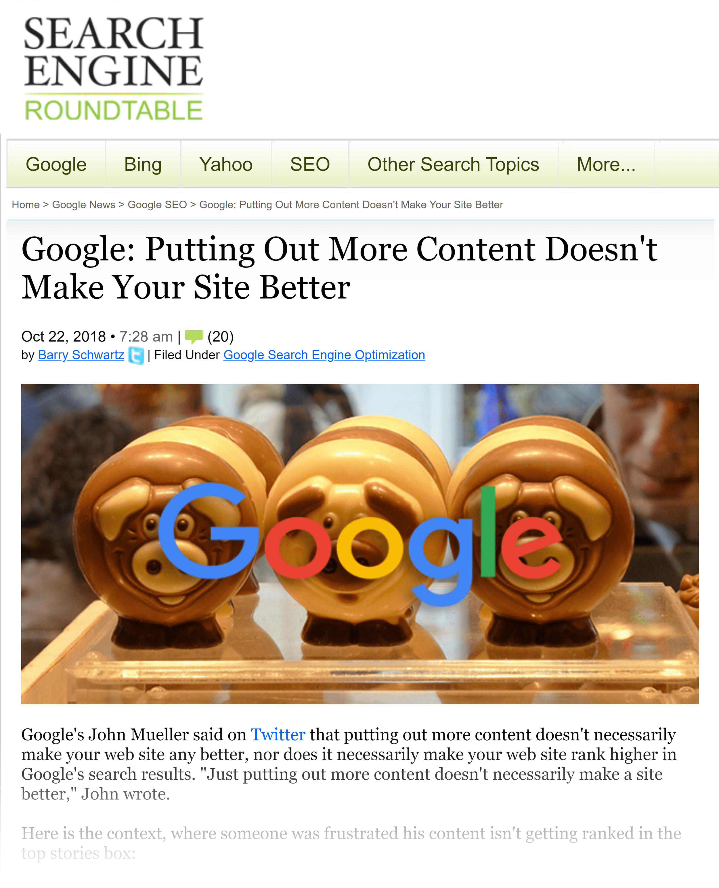 Search Engine Roundtable – Google: More content isn't better