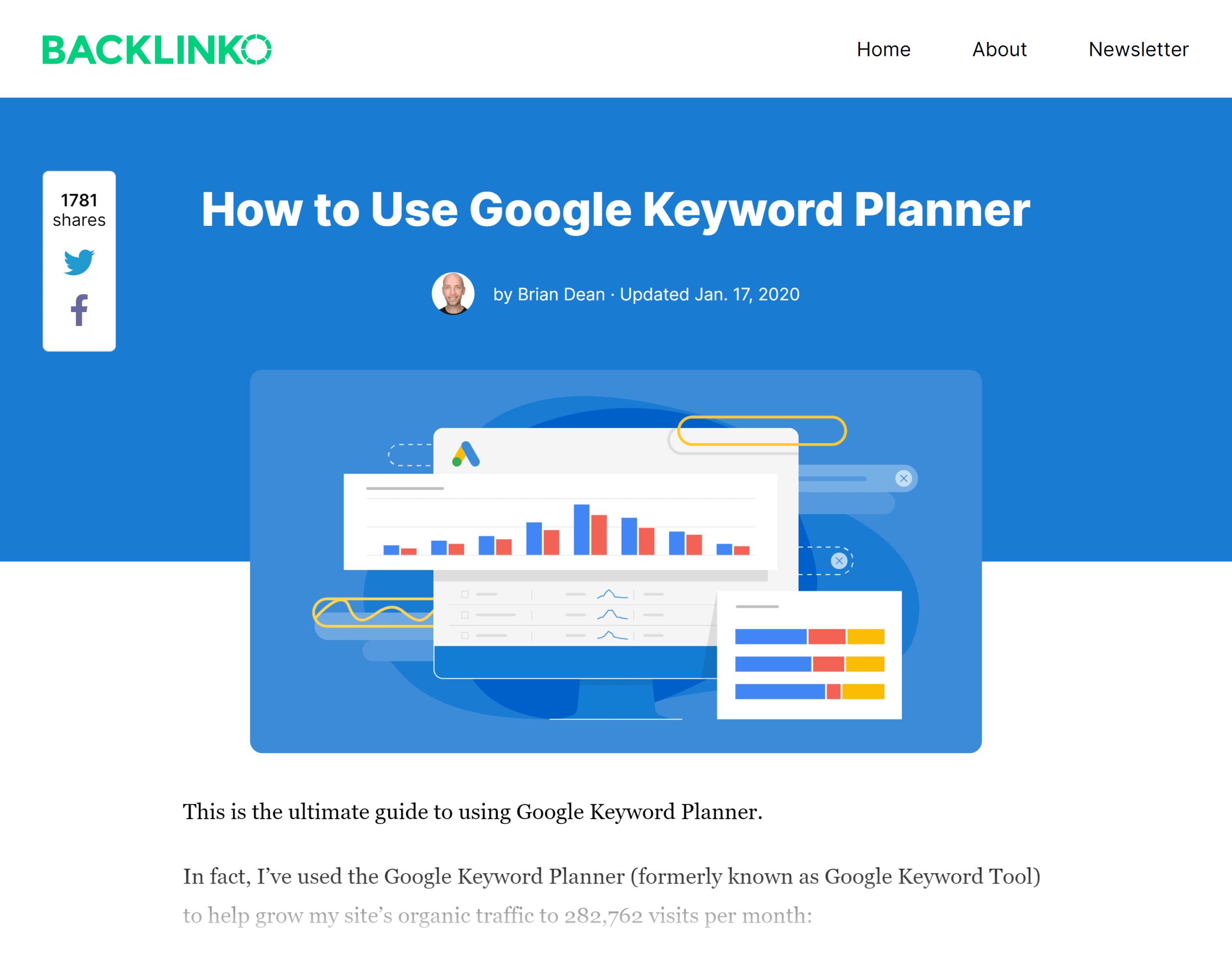 Backlinko – Google keyword planner