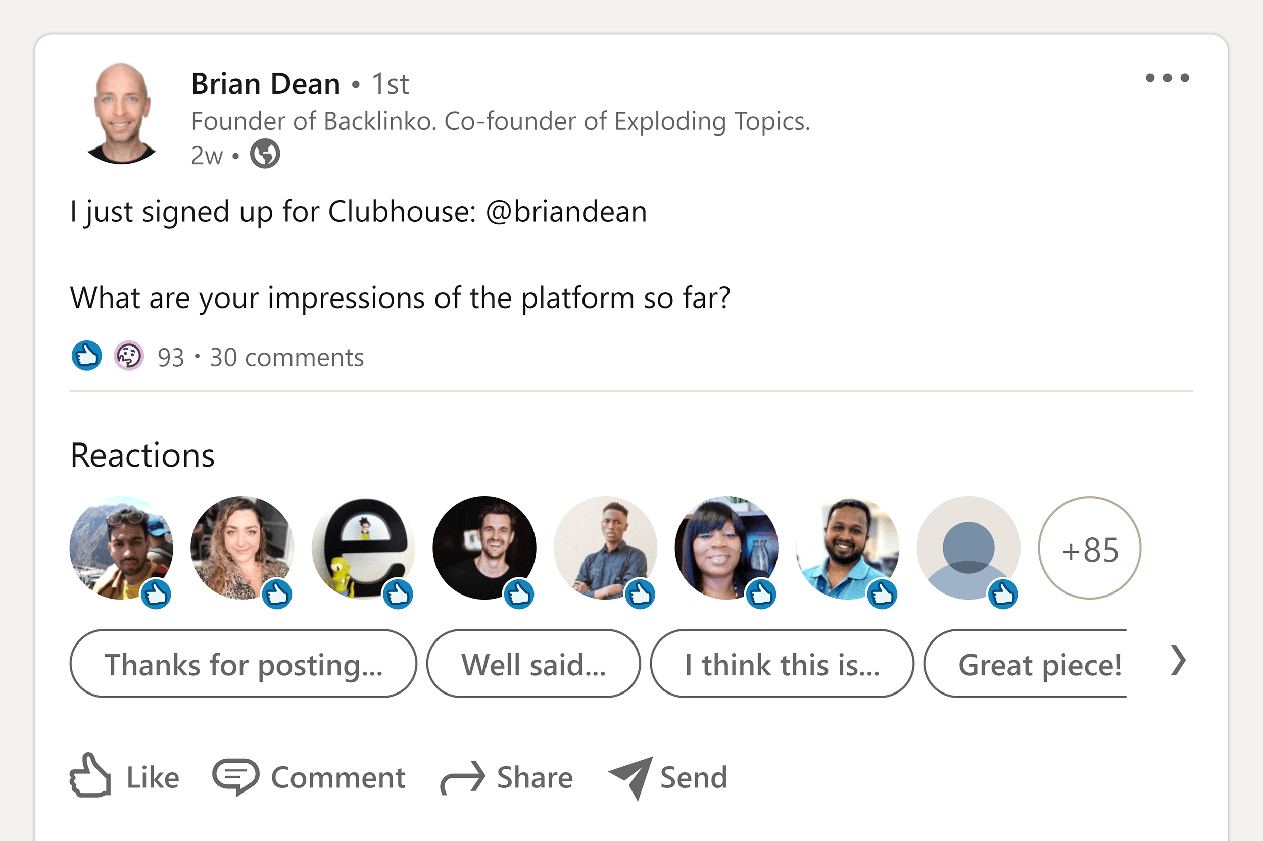 Brian's LinkedIn Clubhouse post