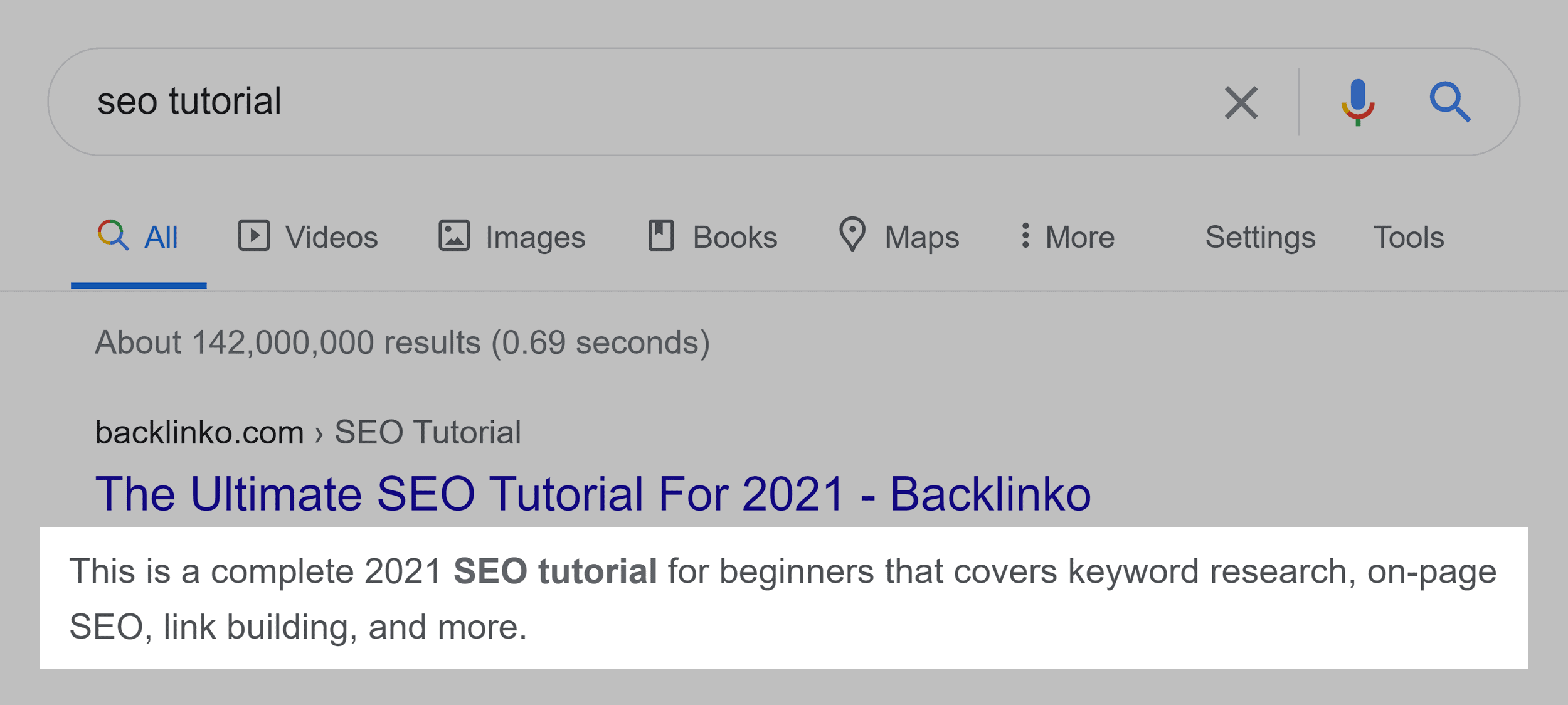 Meta description in Google SERP