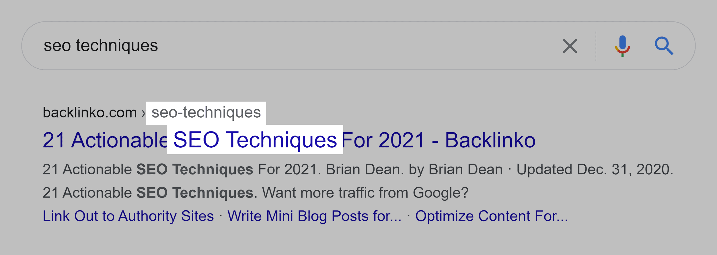 """""""SEO techniques"""" keyword in title and URL"""