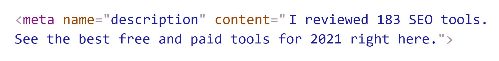 SEO tools – Meta description