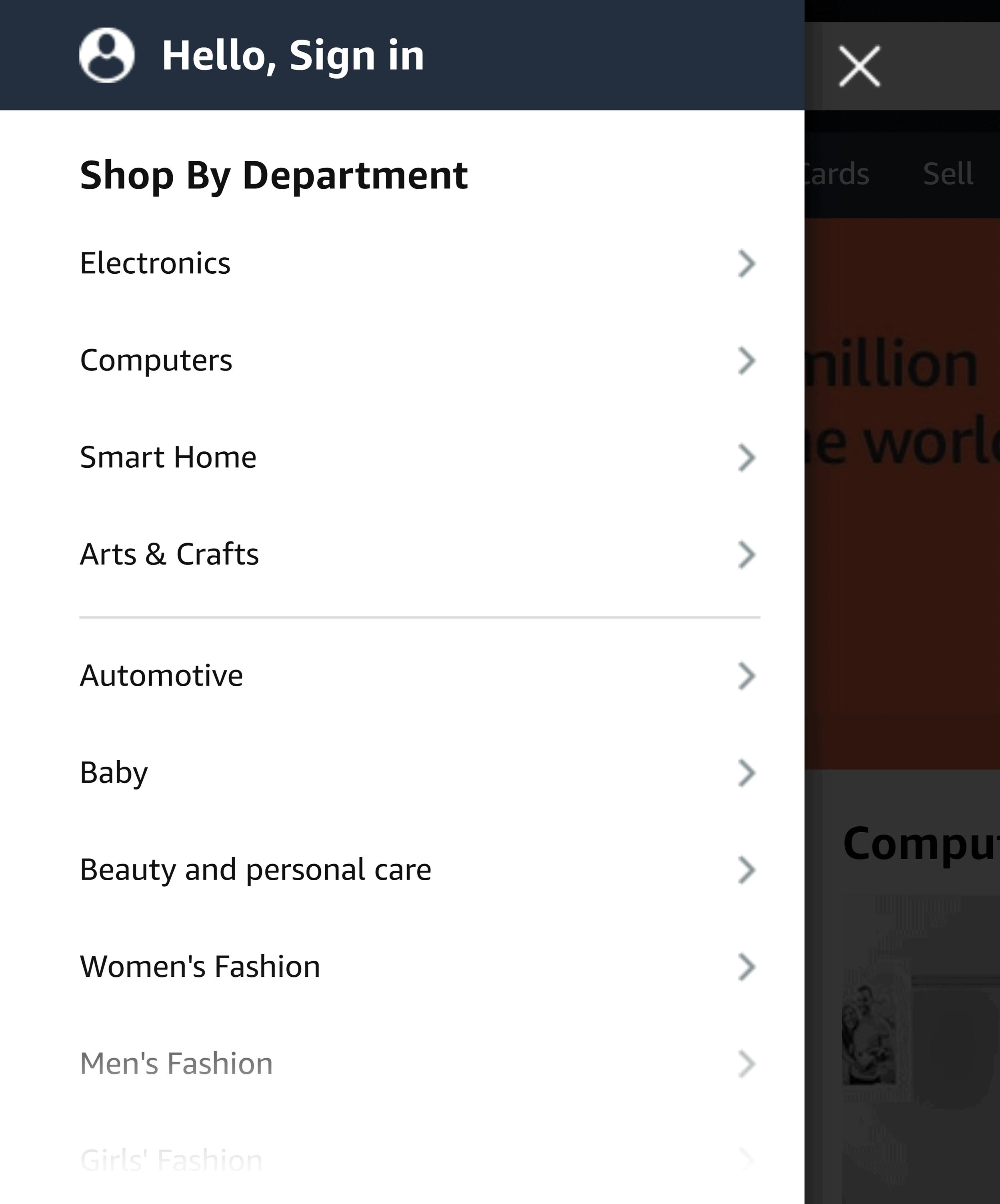 Amazon departments