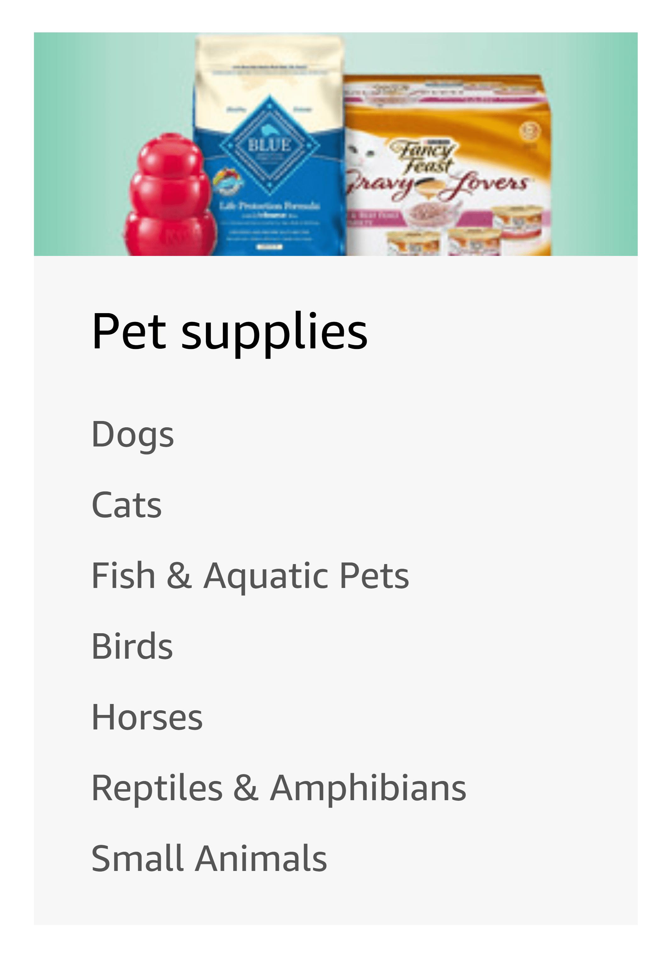 Amazon pet supplies category