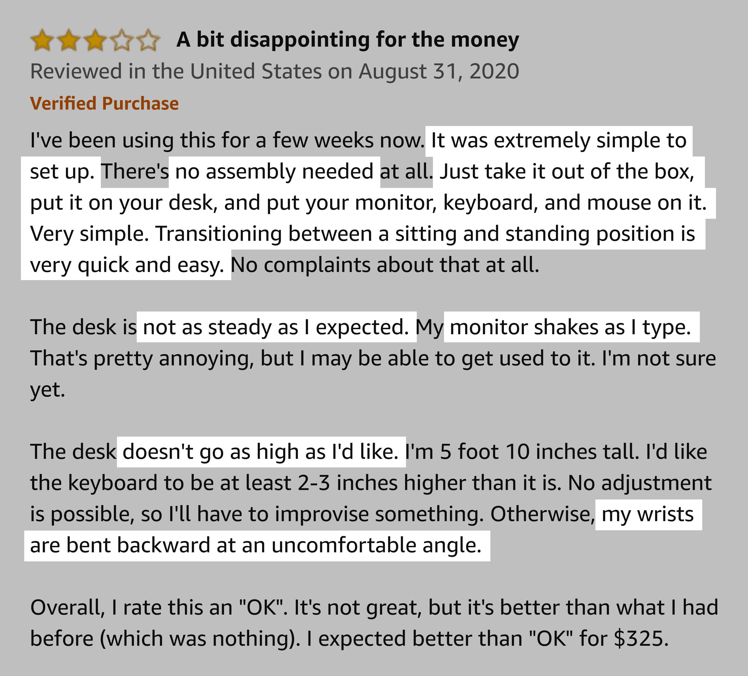 Amazon review – Standing desk – Copy