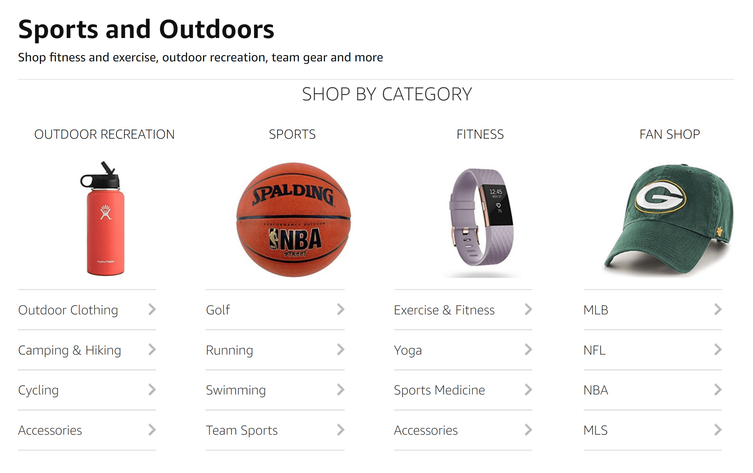 Amazon – Sports and outdoors category