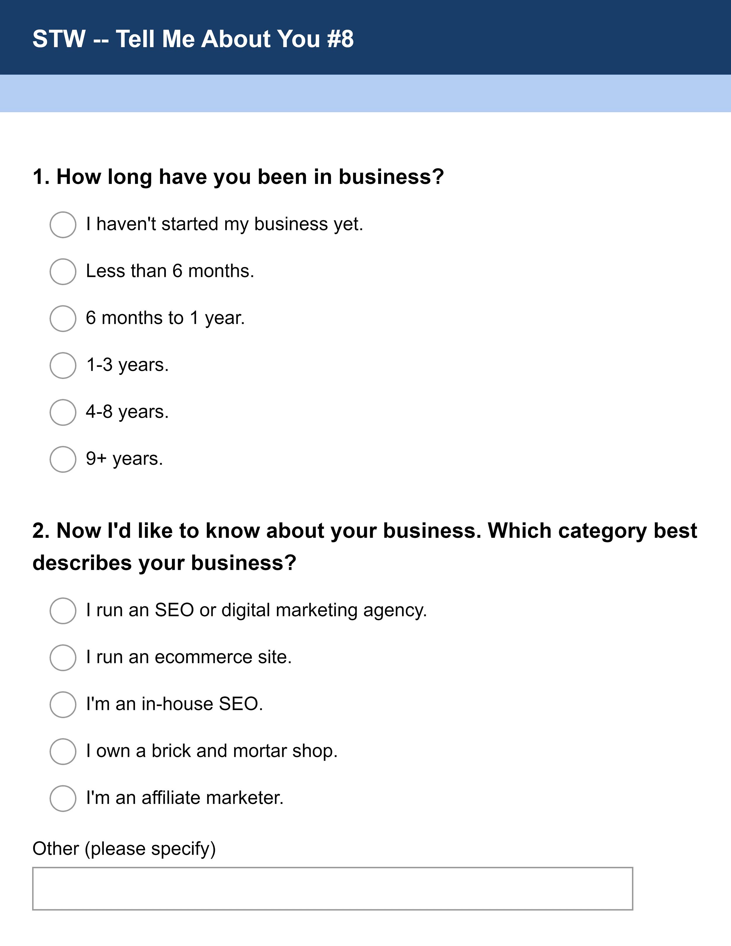 STW survey questions