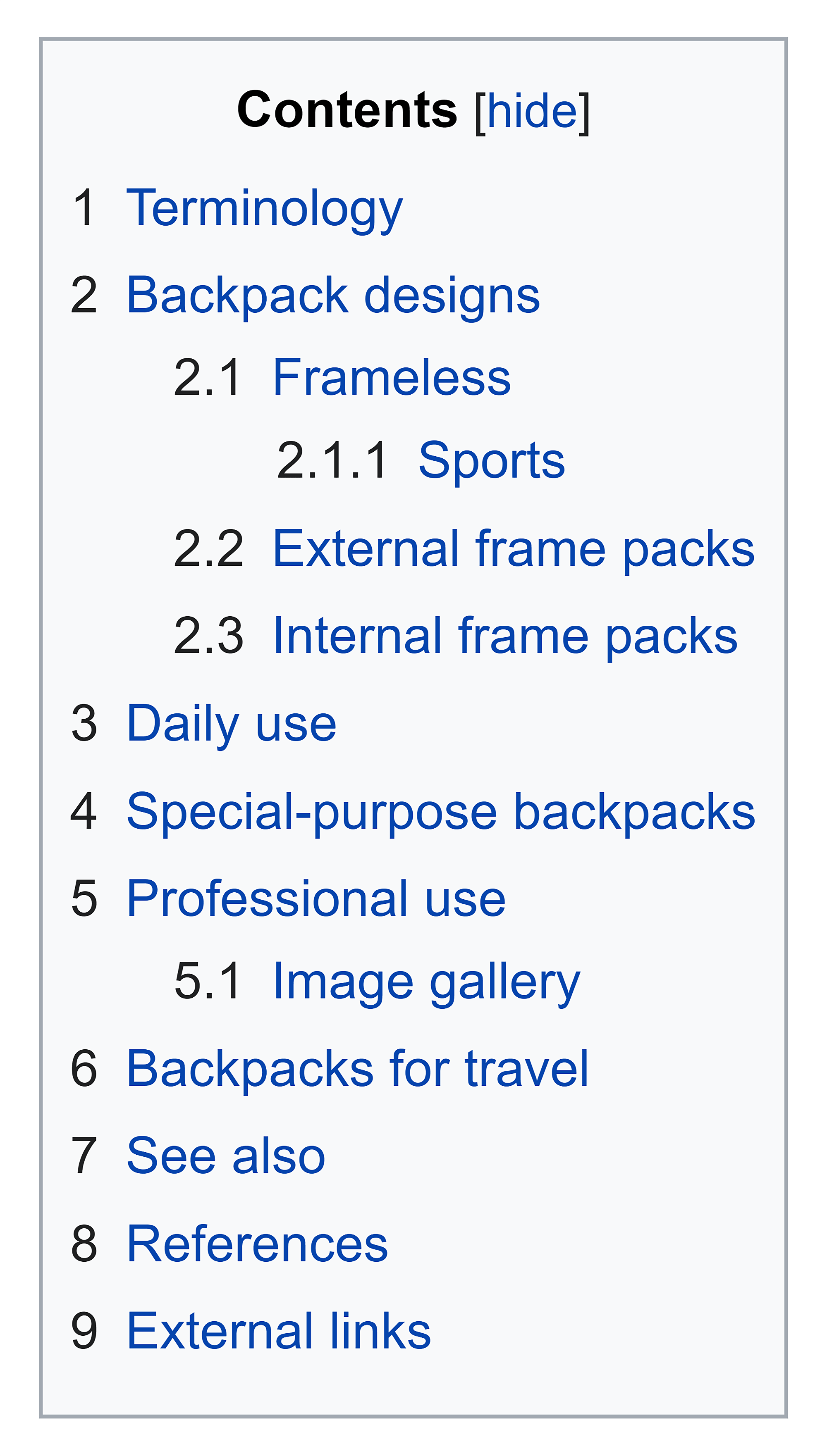 Wikipedia – Backpack – Contents