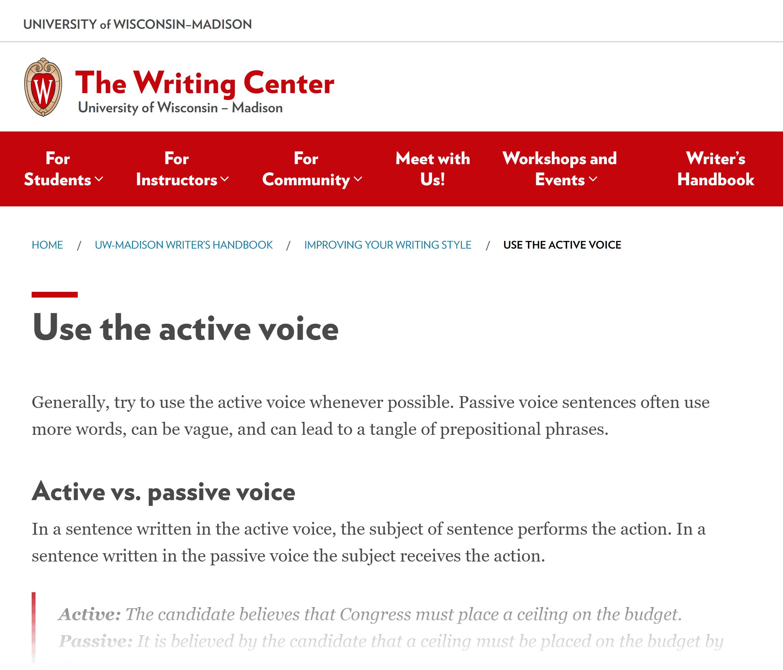 Wisconsin University – Handbook – Active voice