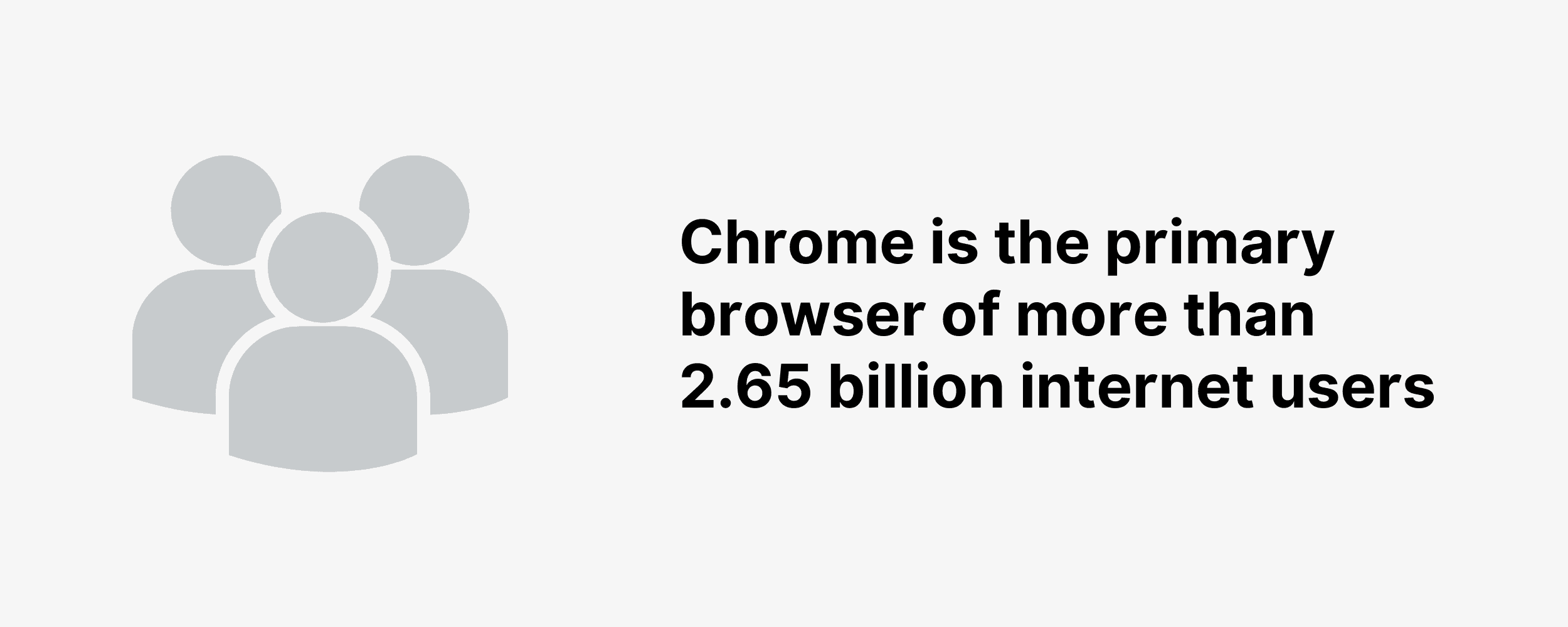Chrome is the primary browser of more than 2.65 billion internet users