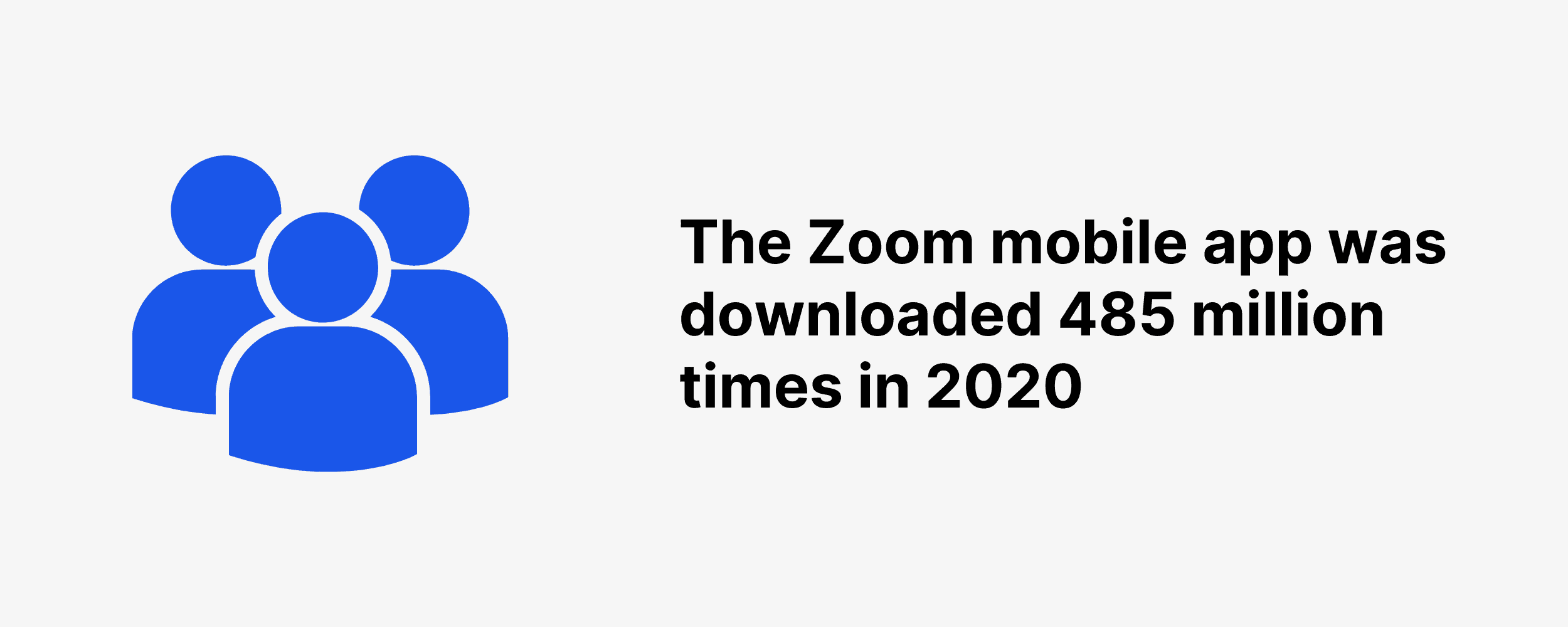 The Zoom mobile app was downloaded 485 million times in 2020