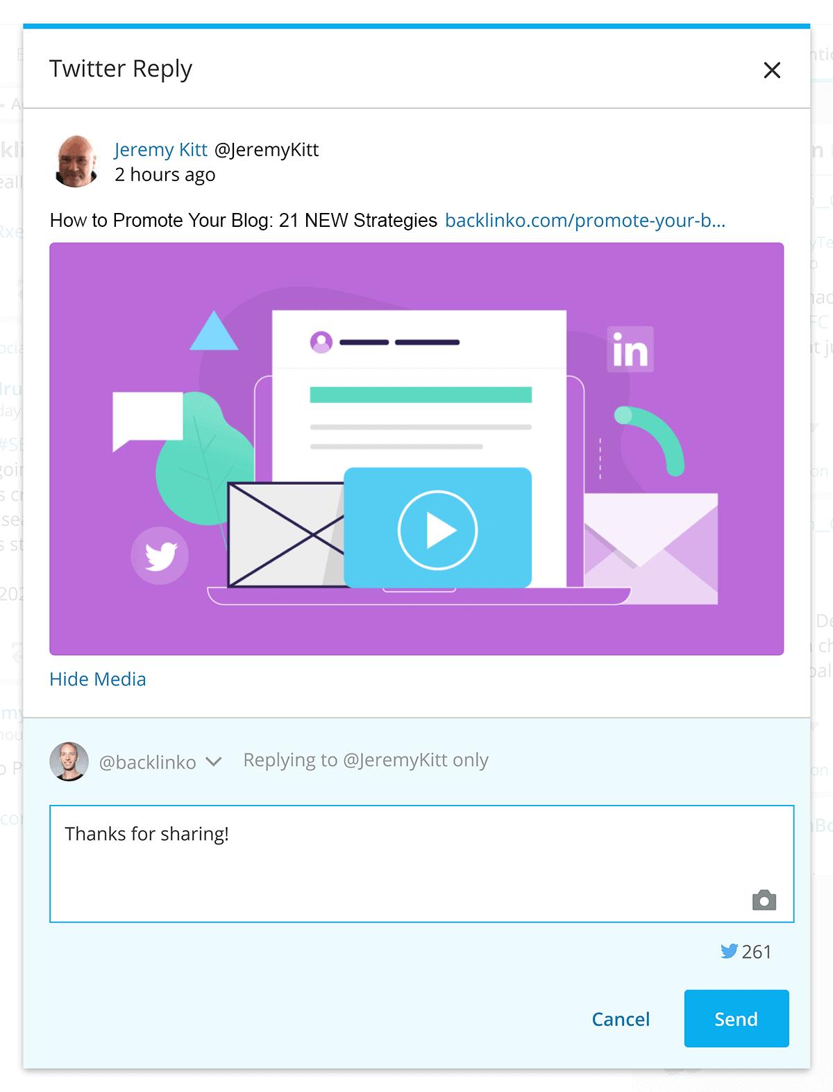Hootsuite – Streams – Tweet reply