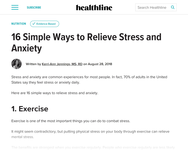 Healthline – Relieve stress post