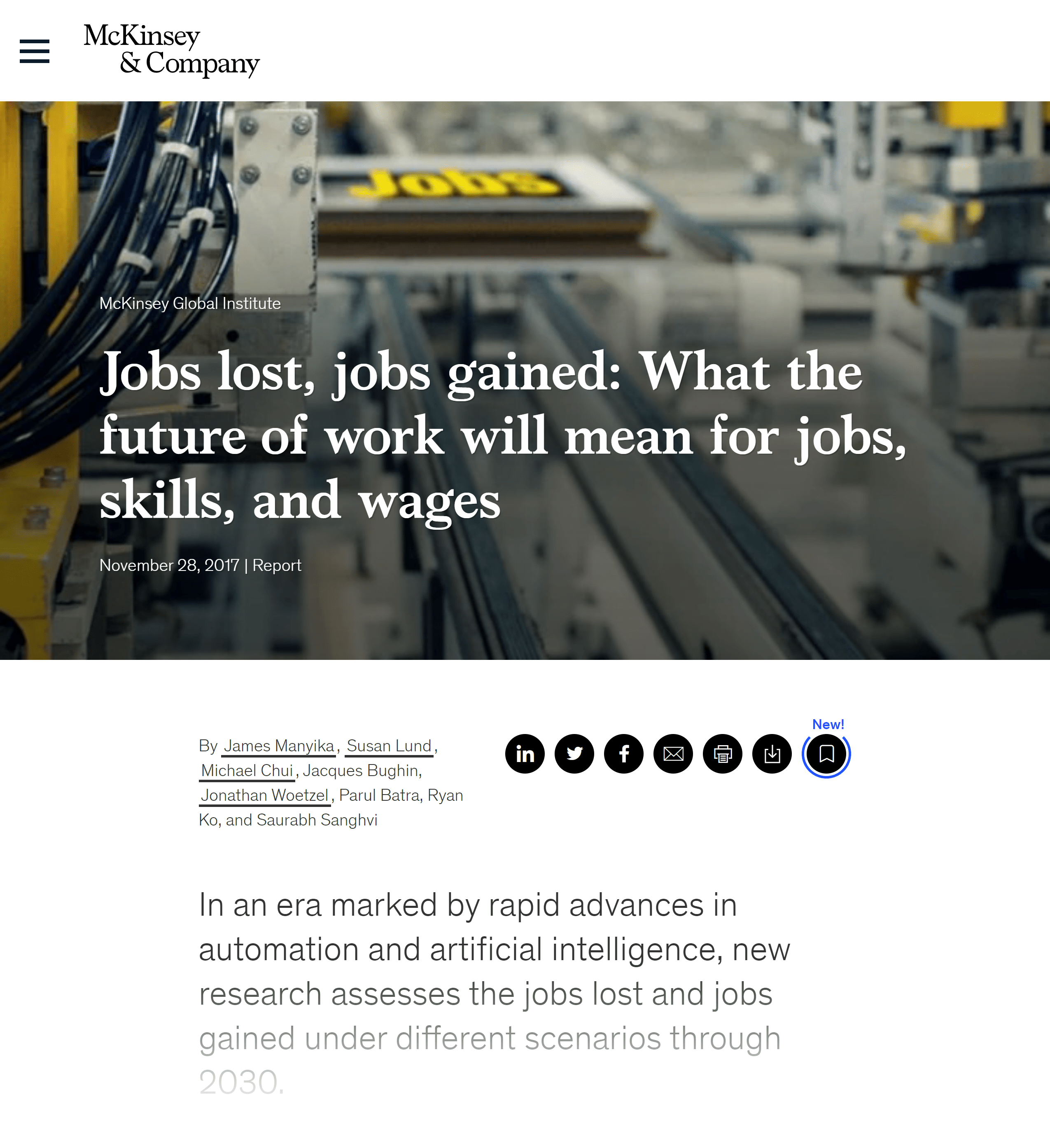 McKinsey & Company – Future of work