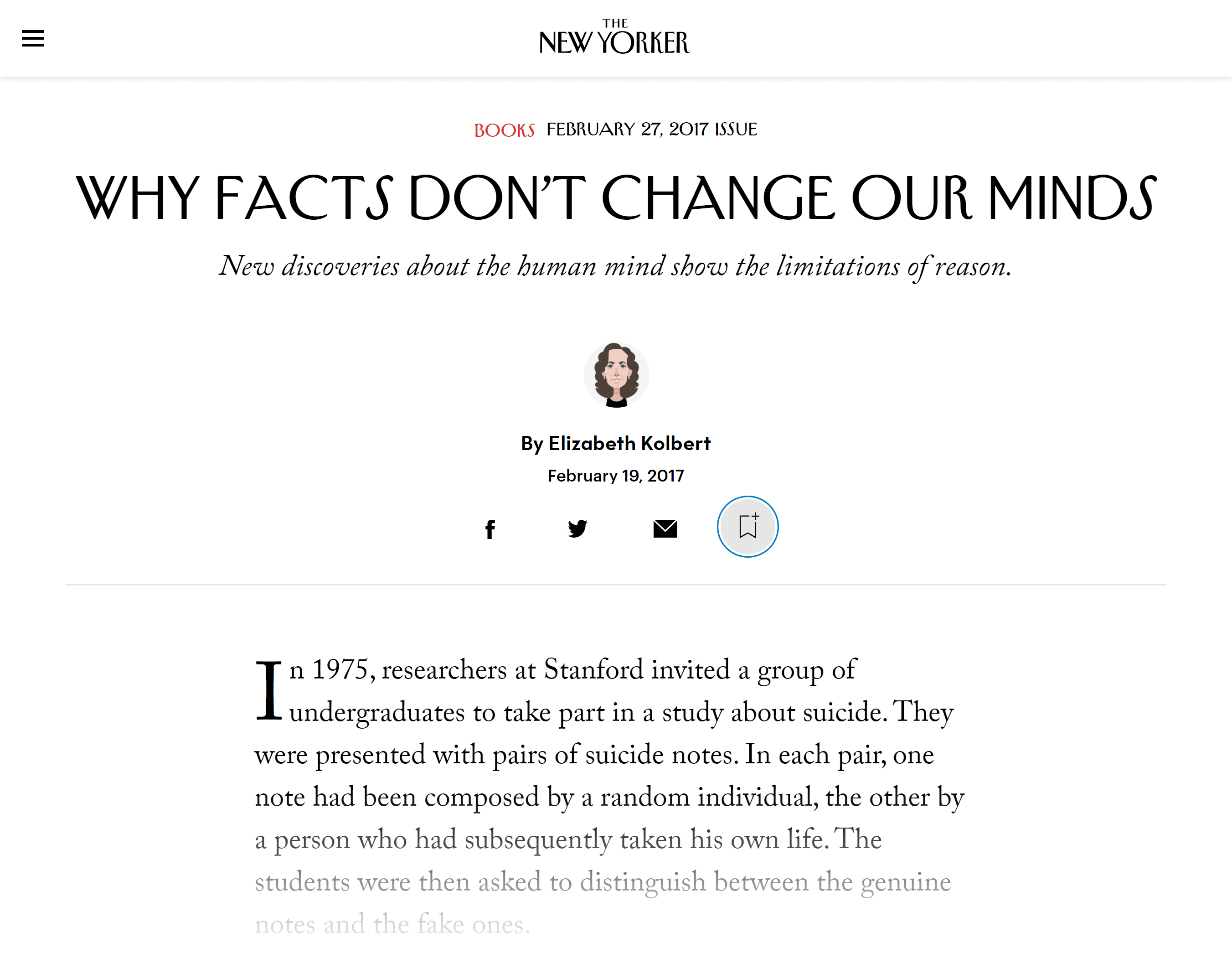 The New Yorker – Why facts don't change our minds
