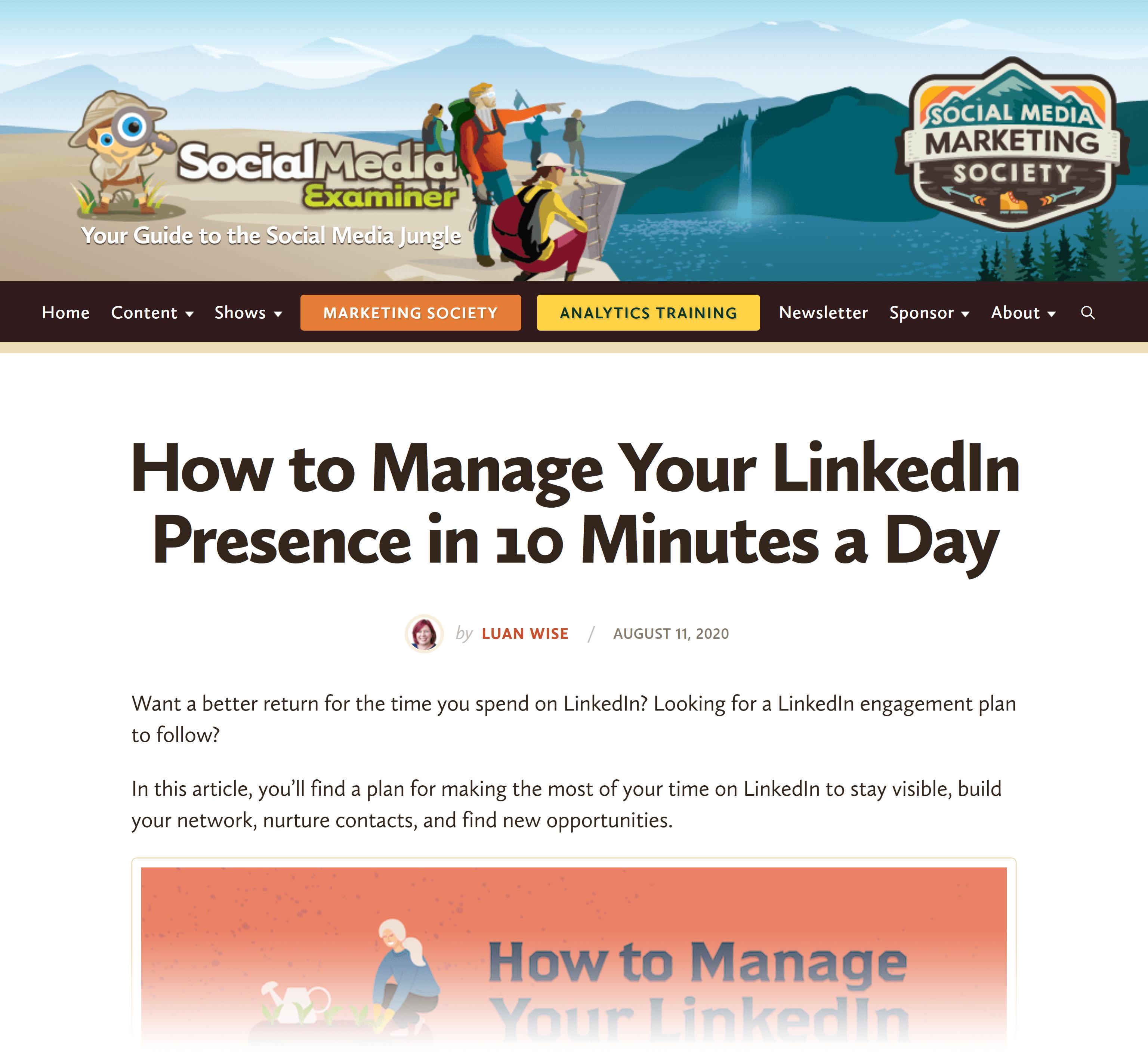 Social Media Examiner – How to manage LinkedIn presence