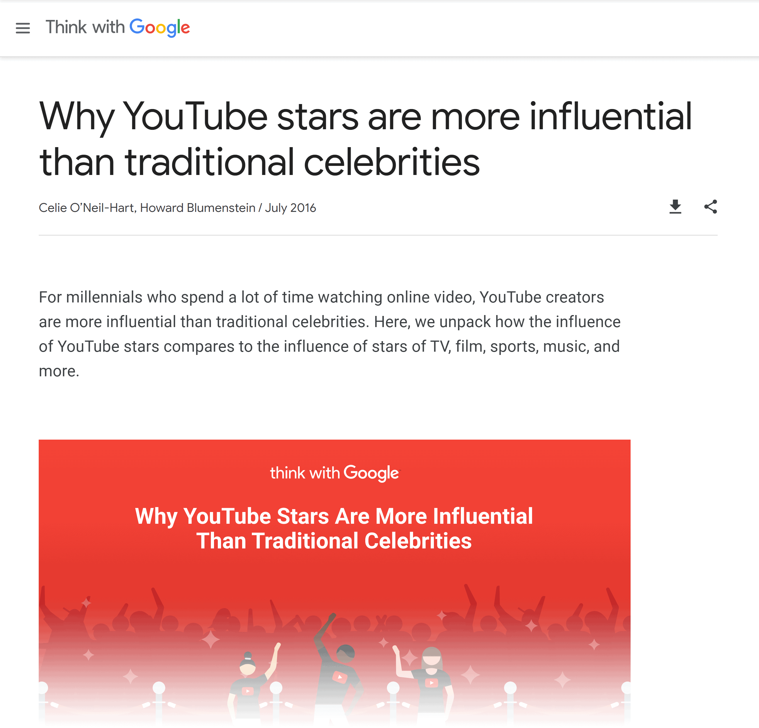 Think with Google – YouTube stars influence