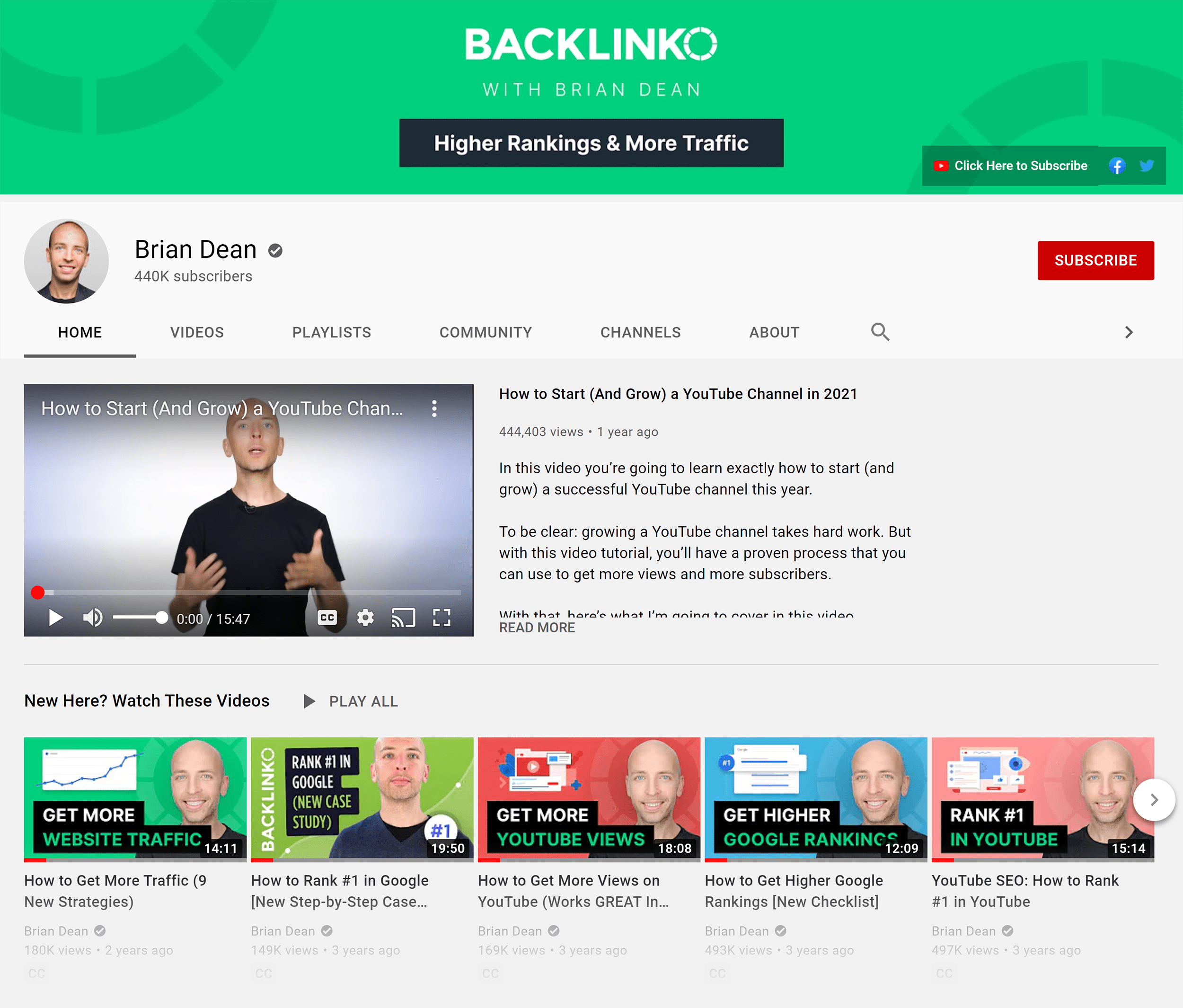 Backlinko YouTube Channel 2021