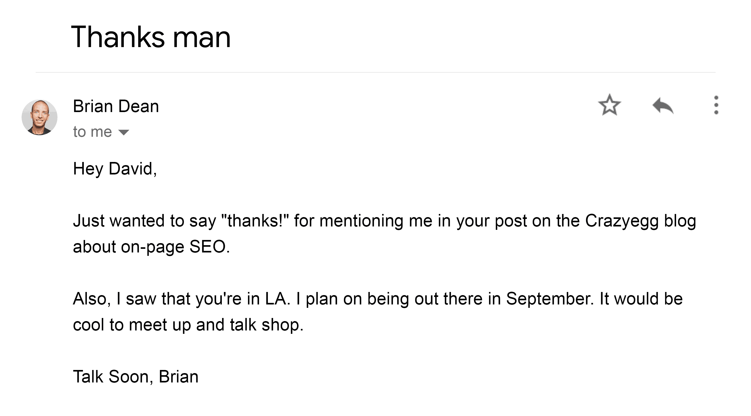 Brian – Thank you email
