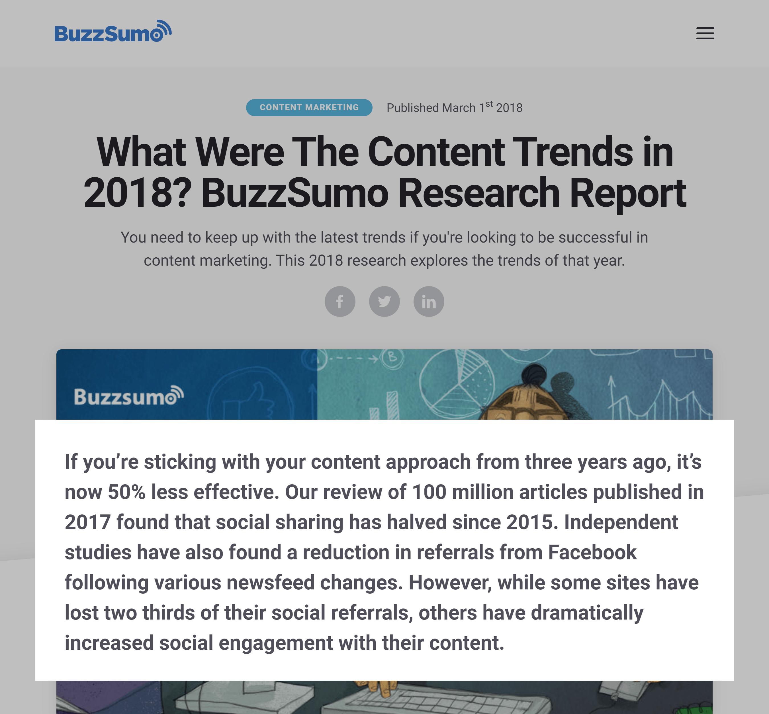 BuzzSumo – Content trends report