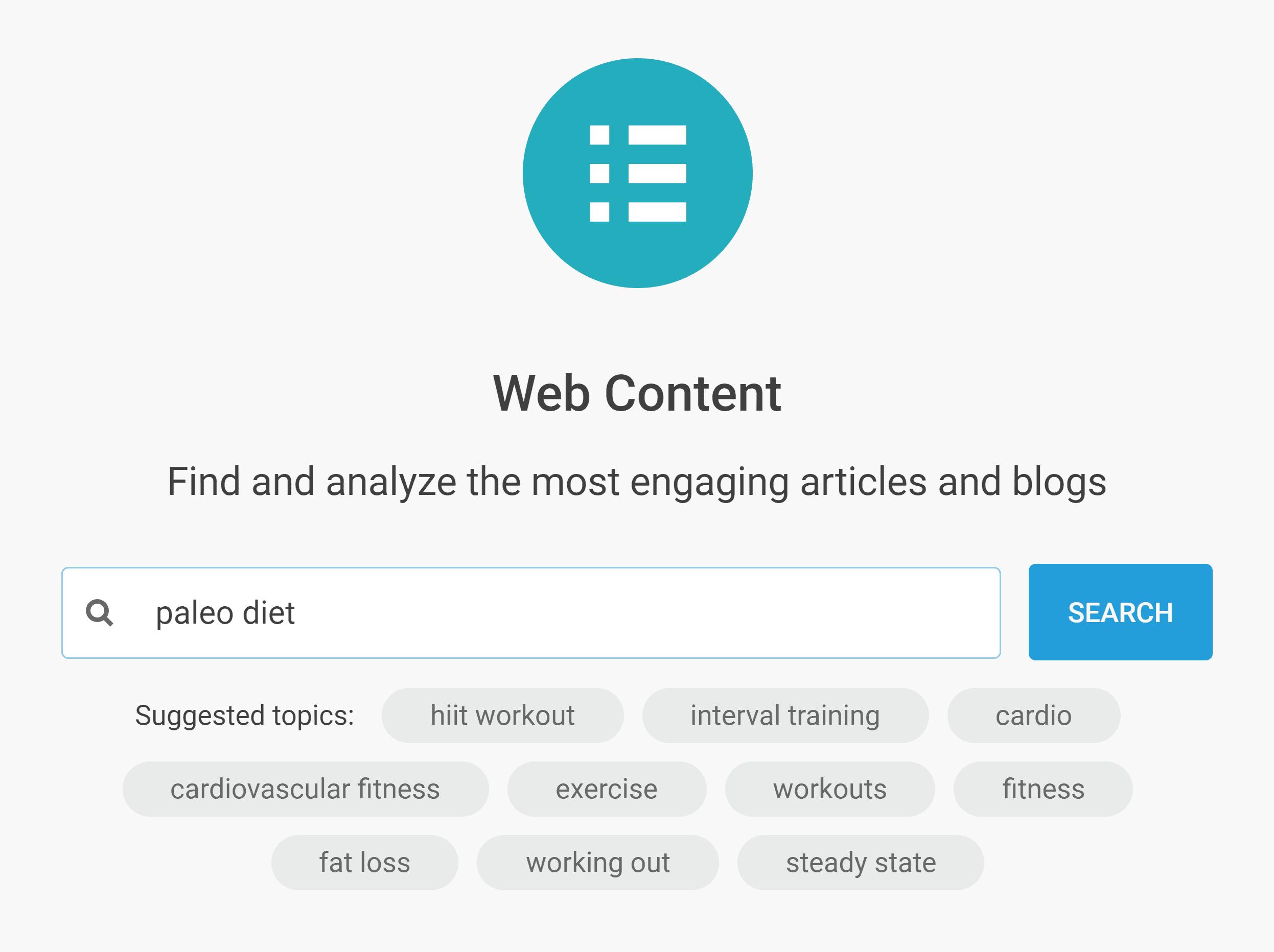 Buzzsumo – Content – Web search