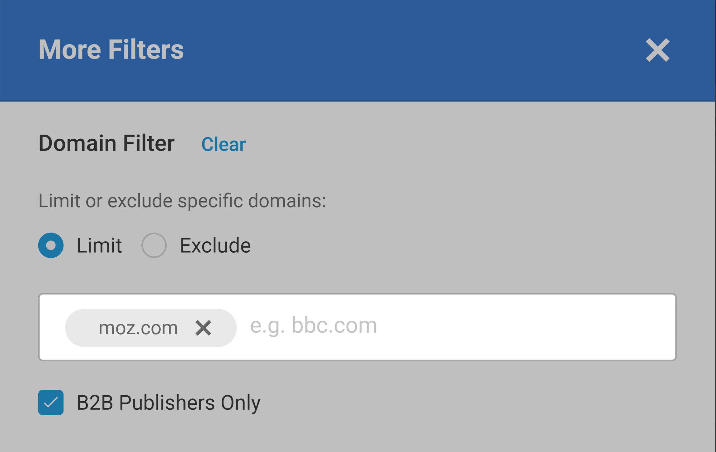 Buzzsumo – Domain filter