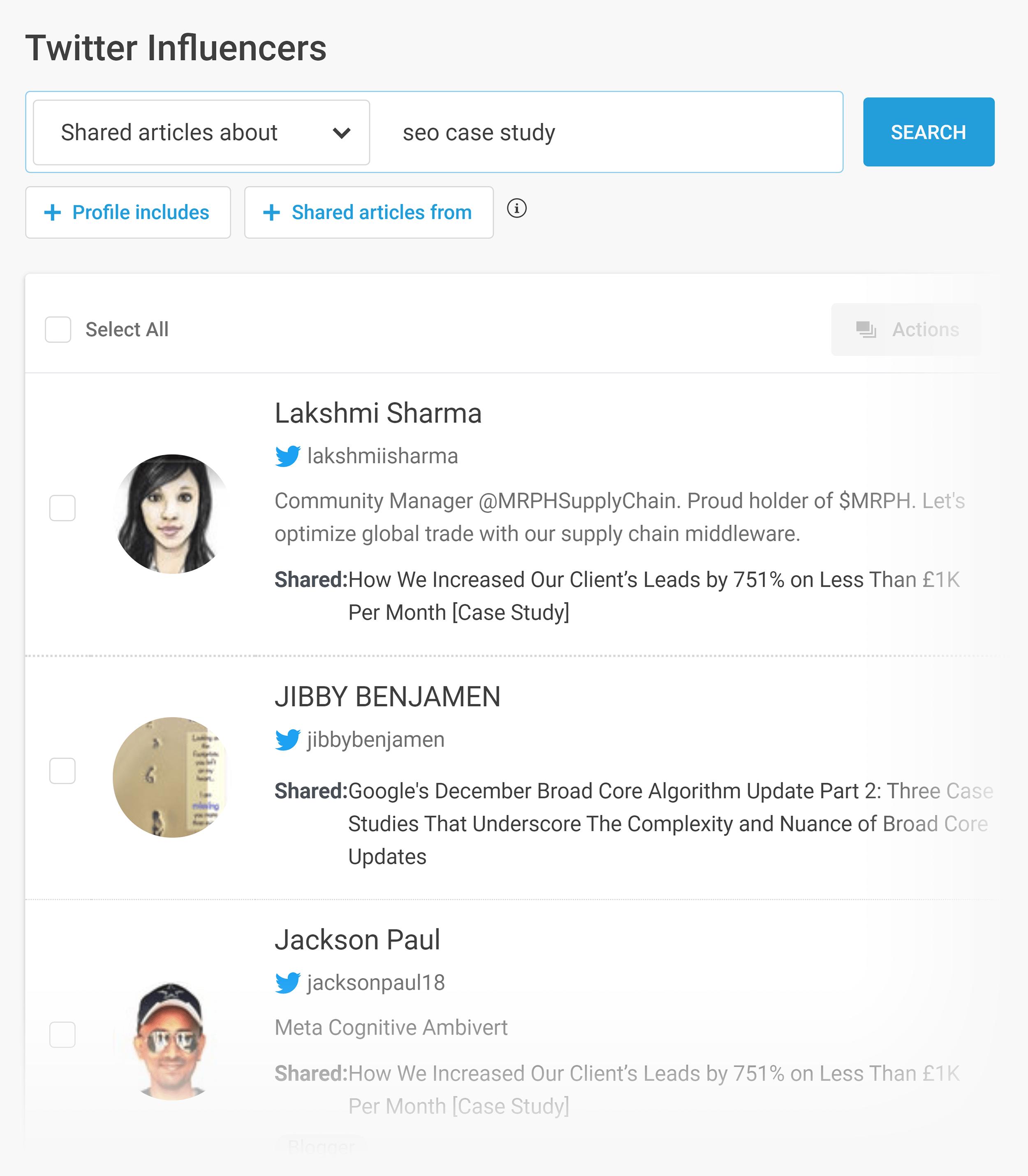 Buzzsumo – Influencers – Twitter – SEO case study