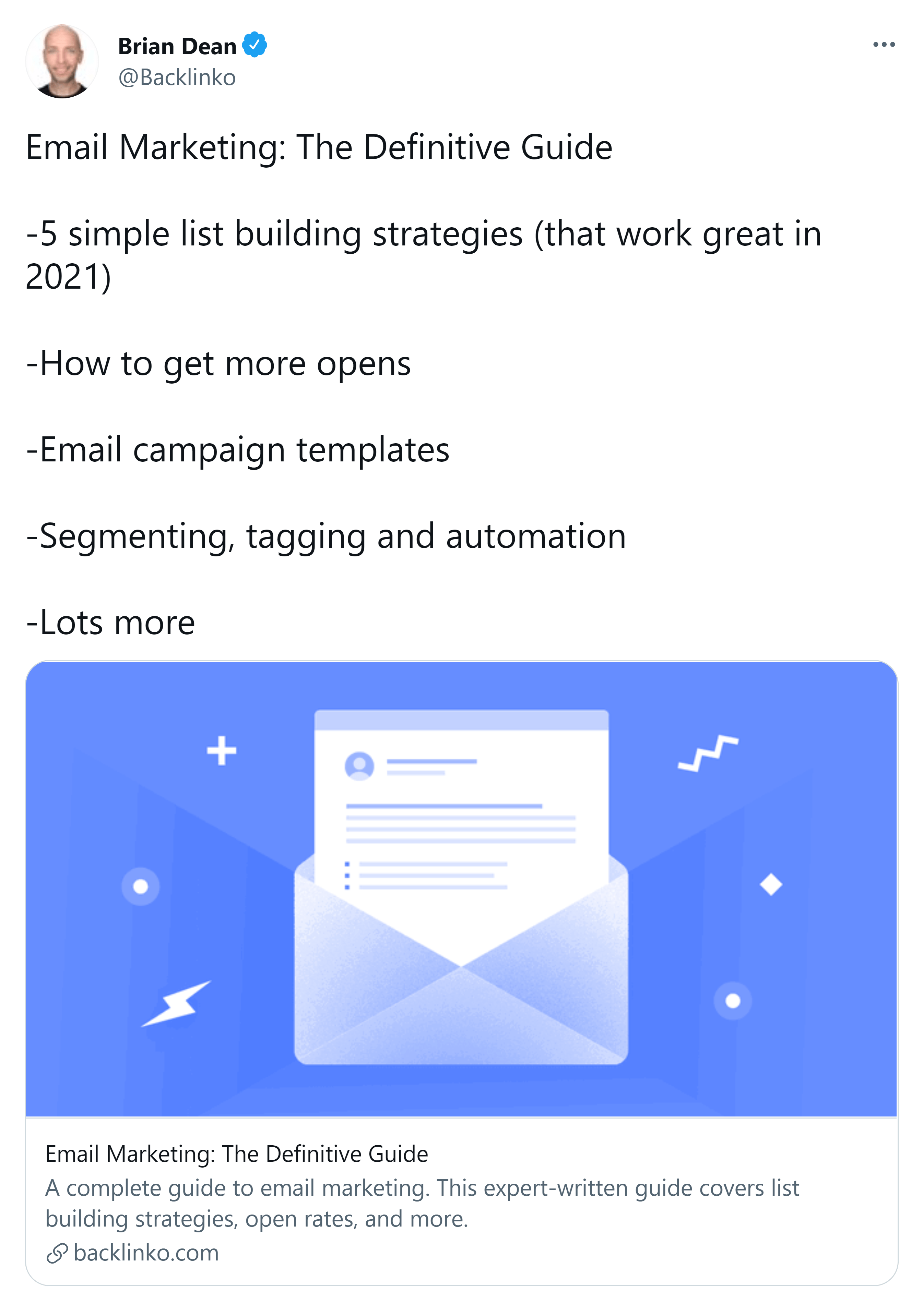 Email marketing guide – Update tweet