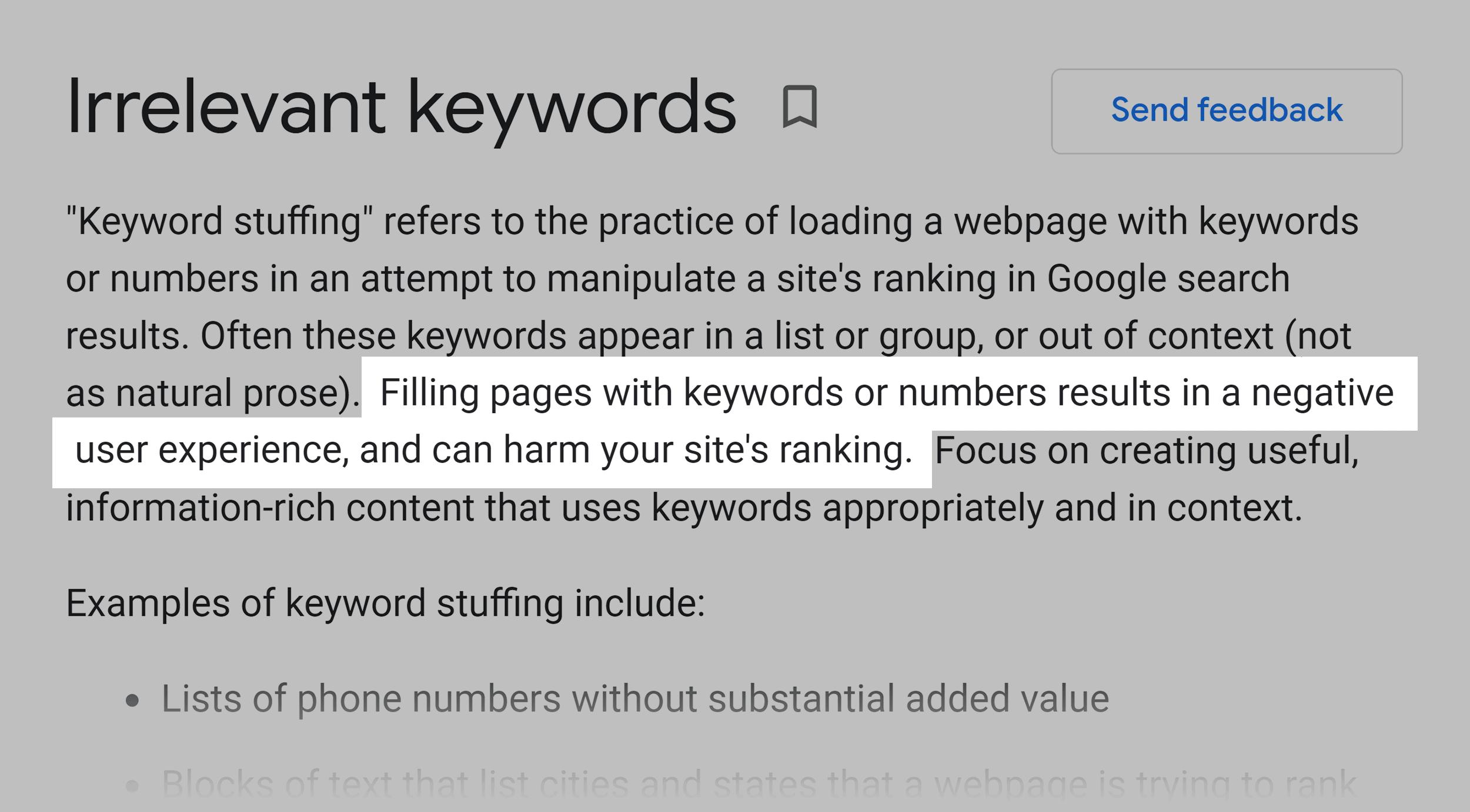 Google guidelines – Irrelevant keywords