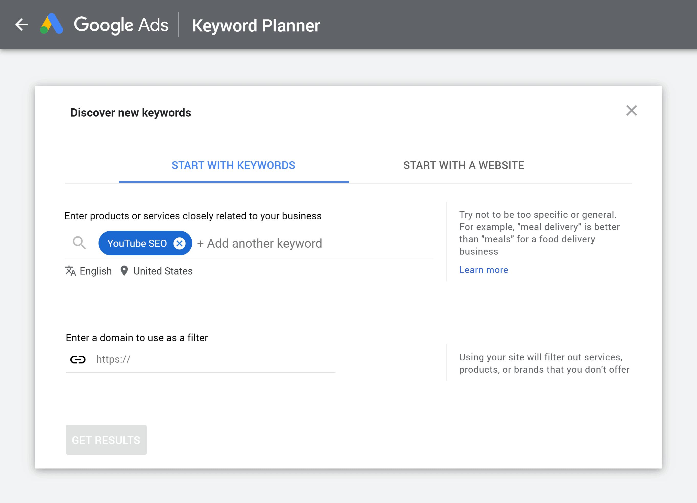 Google Keyword Planner – Search