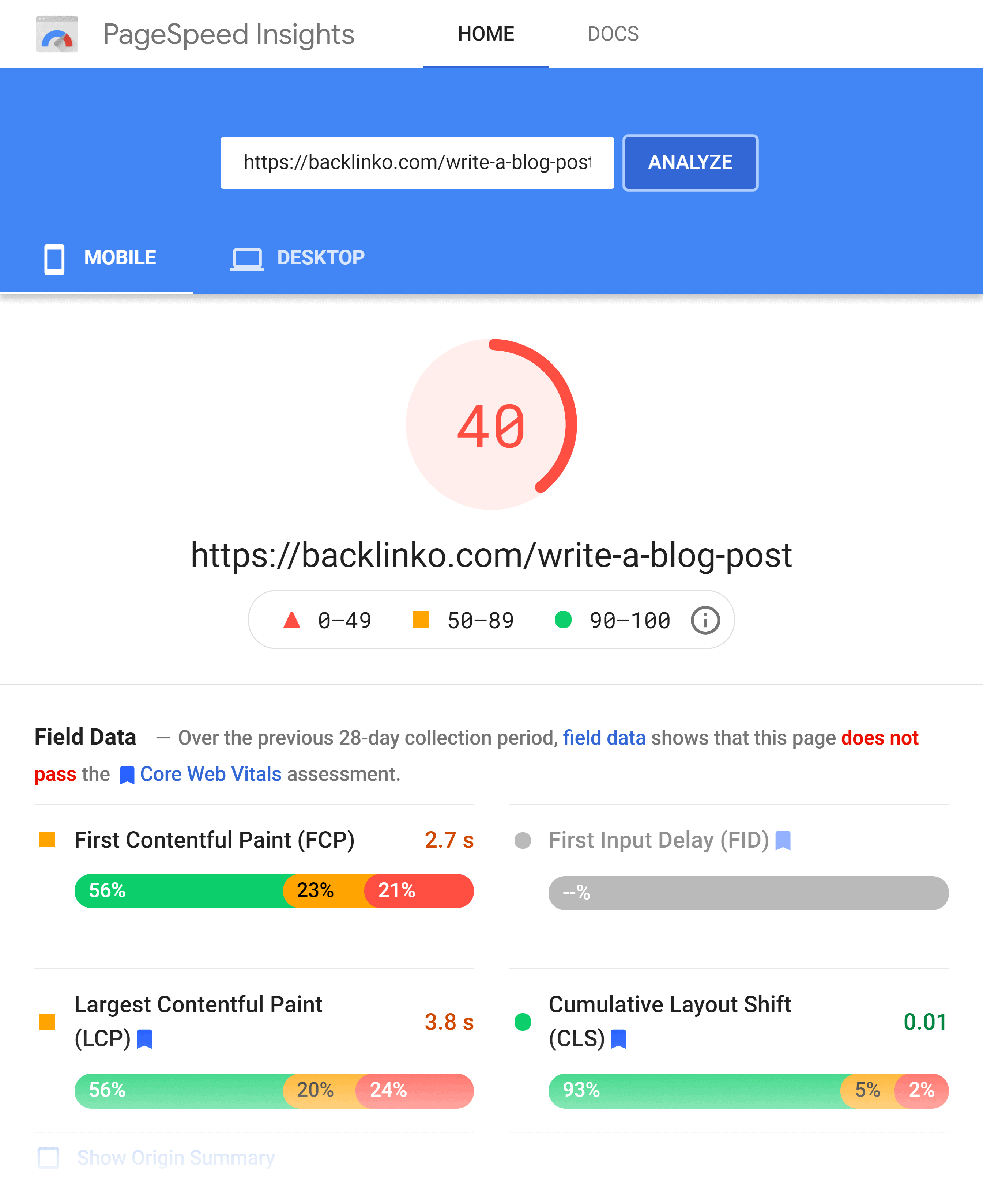 Google PageSpeed Insights – Backlinko – Results