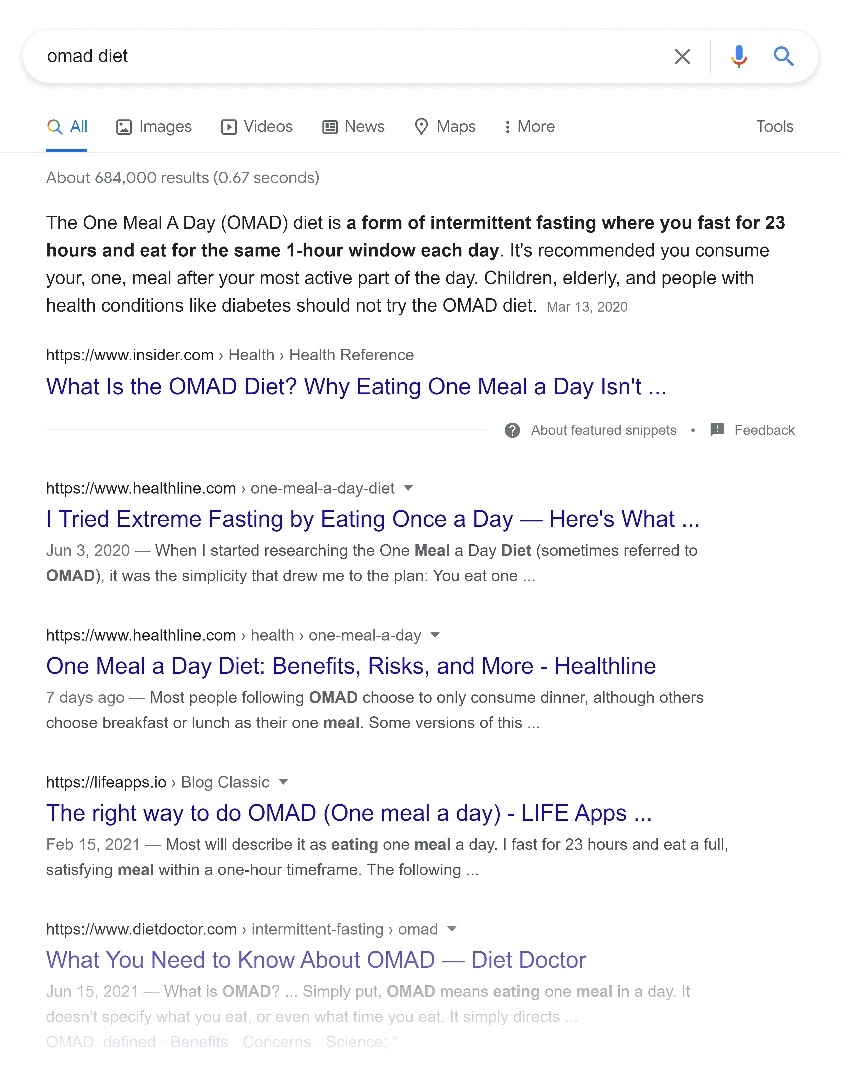 Google SERP – Omad diet