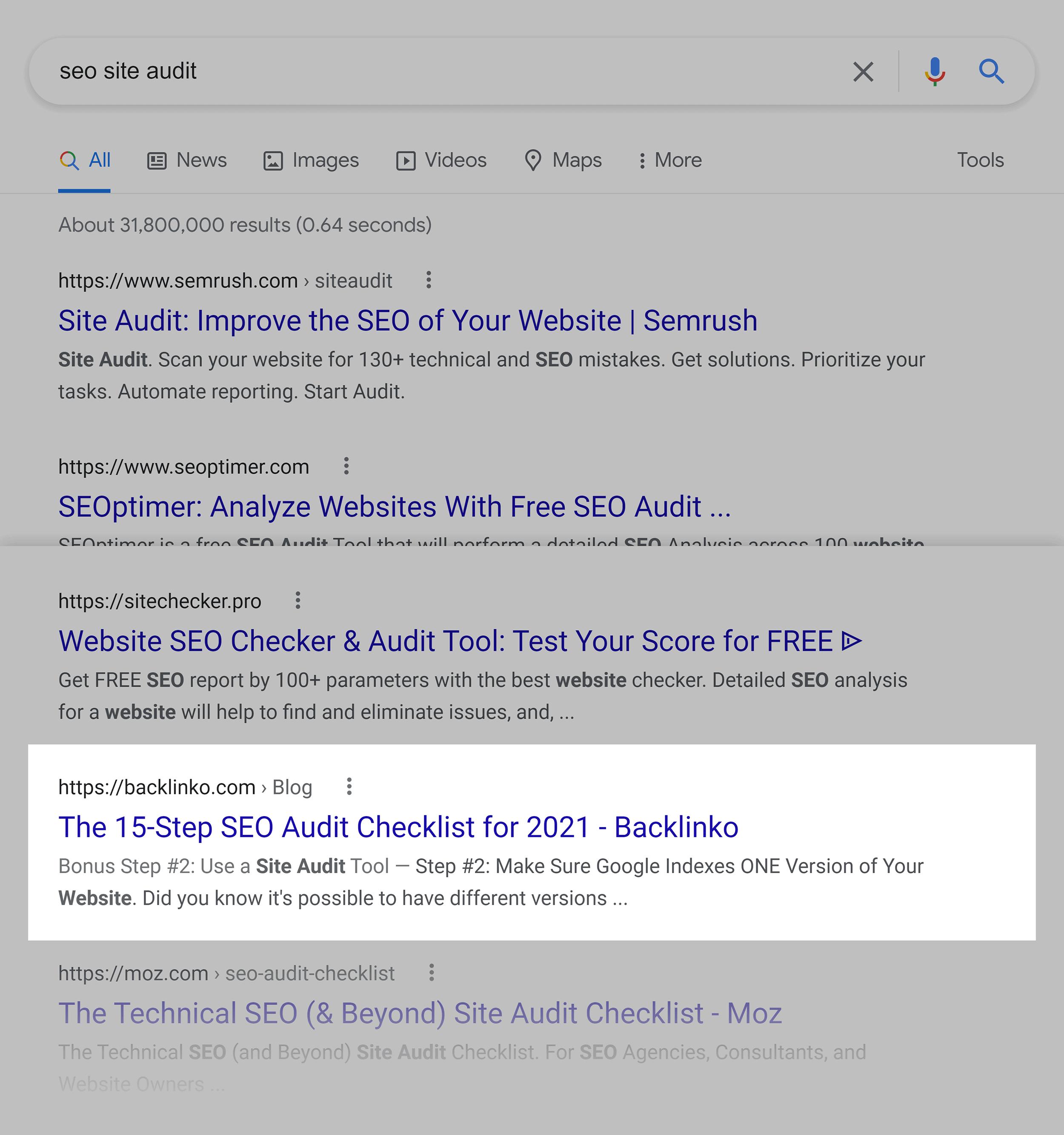 Google SERP – SEO site audit
