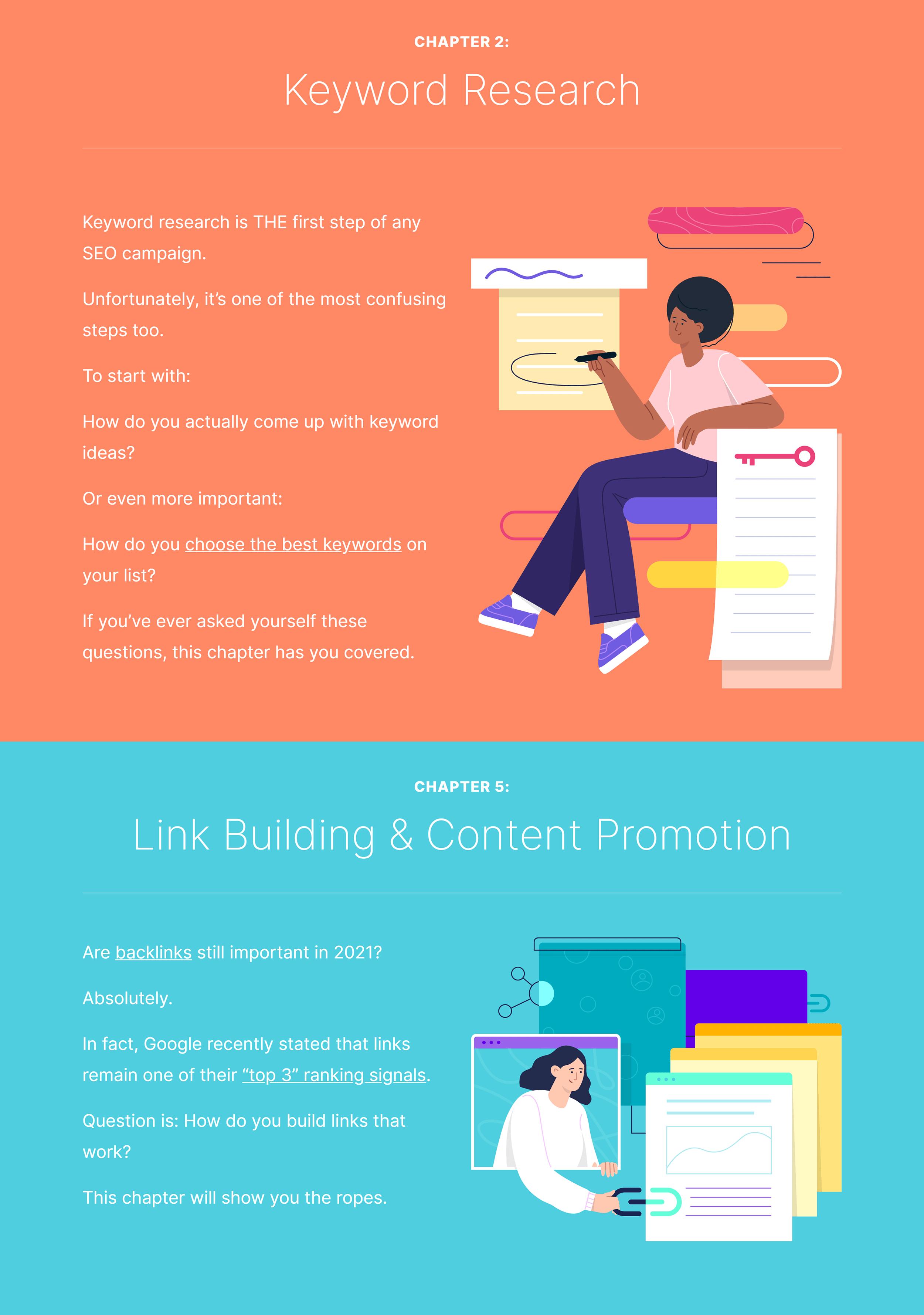 Learn SEO fast – Custom chapter design