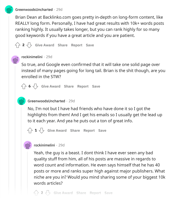 Reddit – Comments about Backlinko