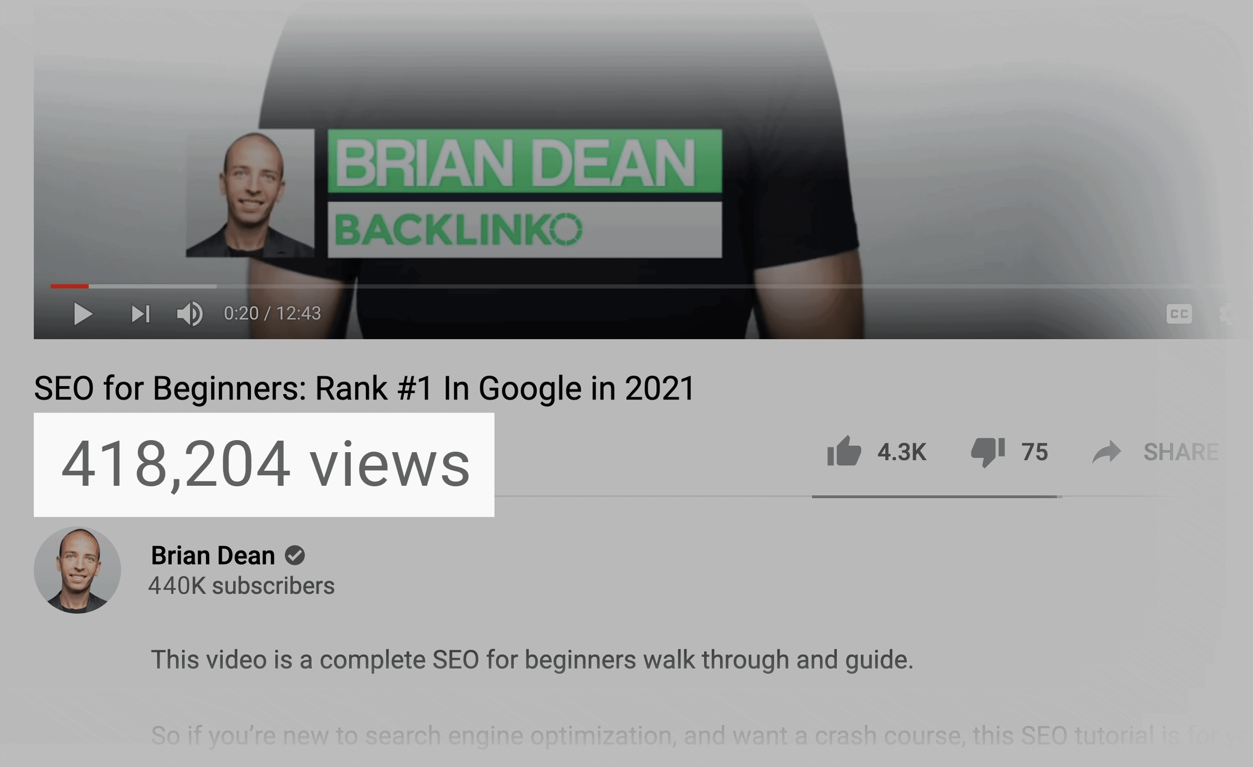 SEO for beginners YouTube video – View count