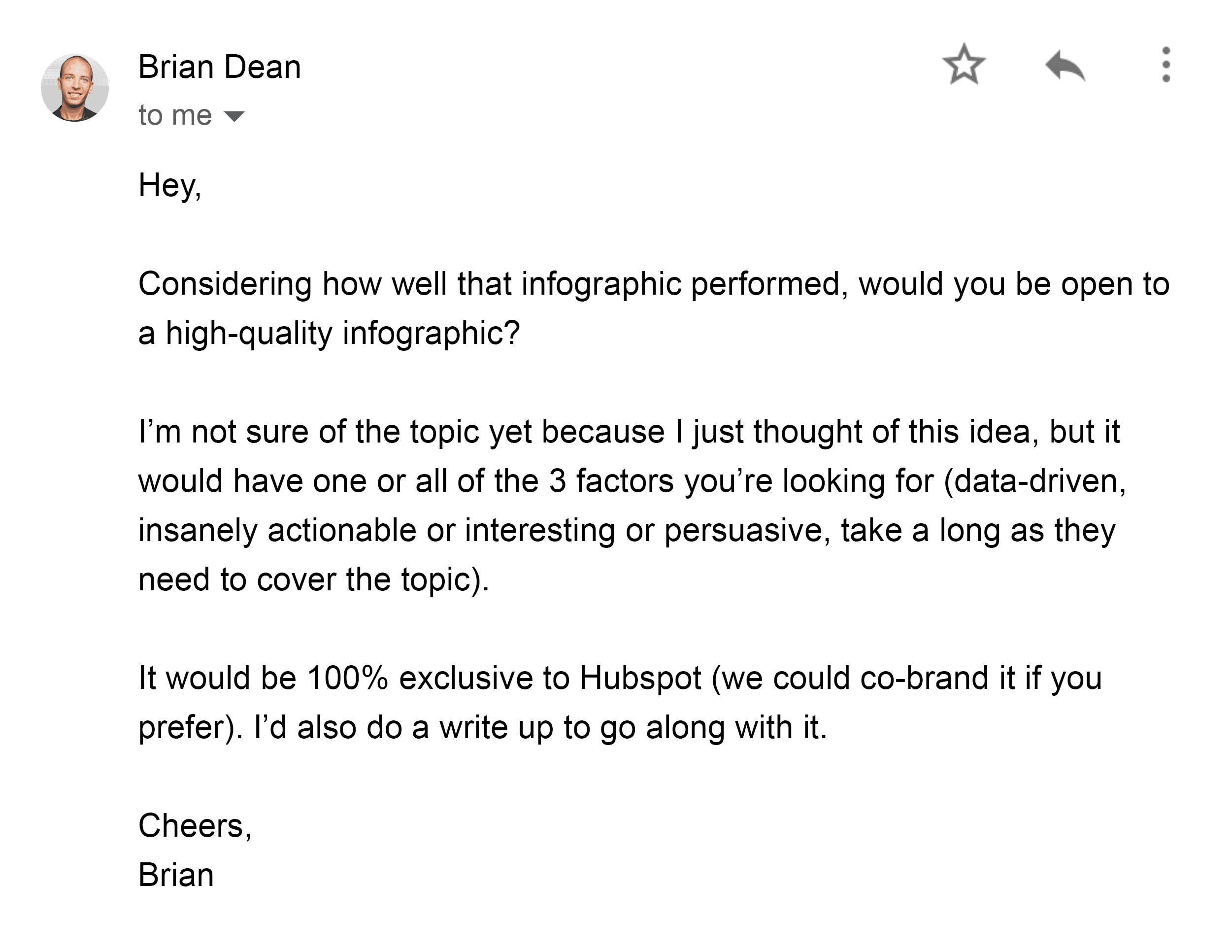 Brian's email to HubSpot