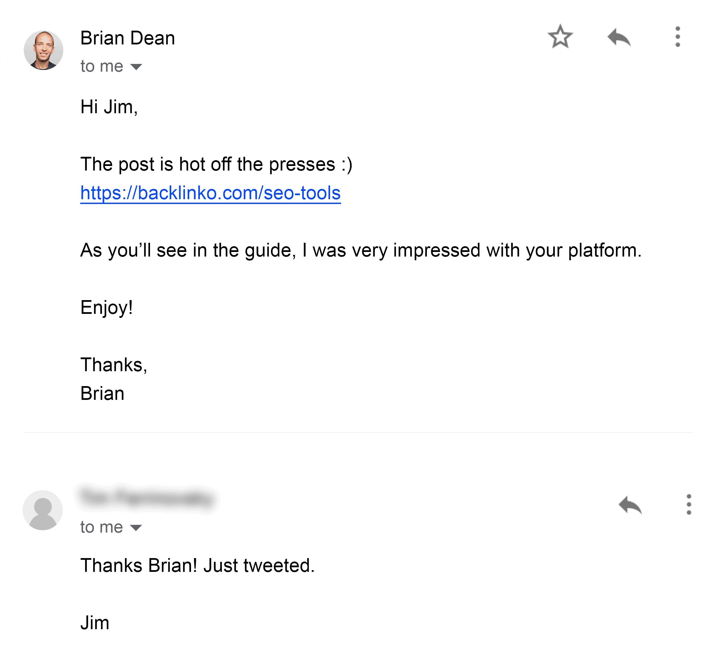 Brian – Follow-up email – SEO tools post