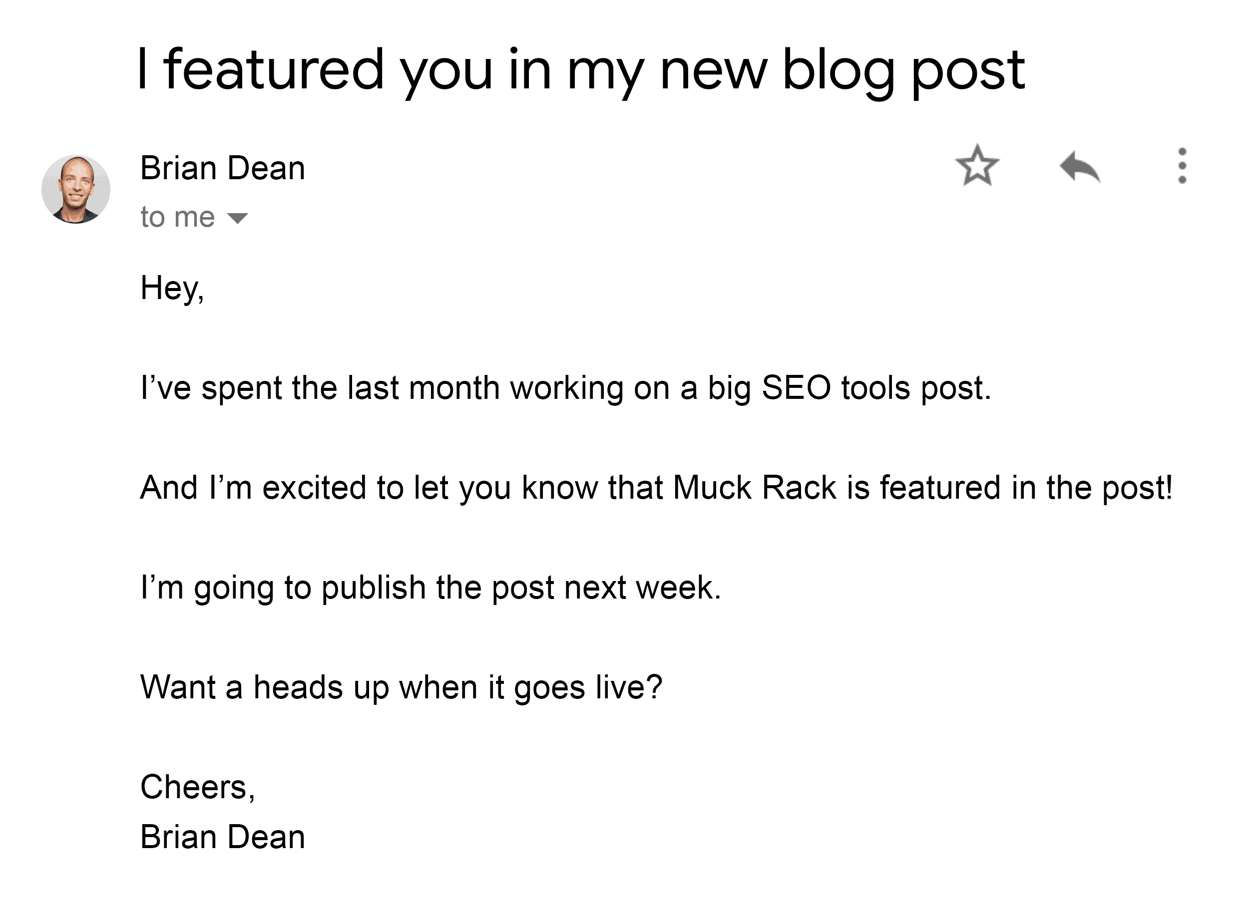 Brian – Outreach email – SEO tools post