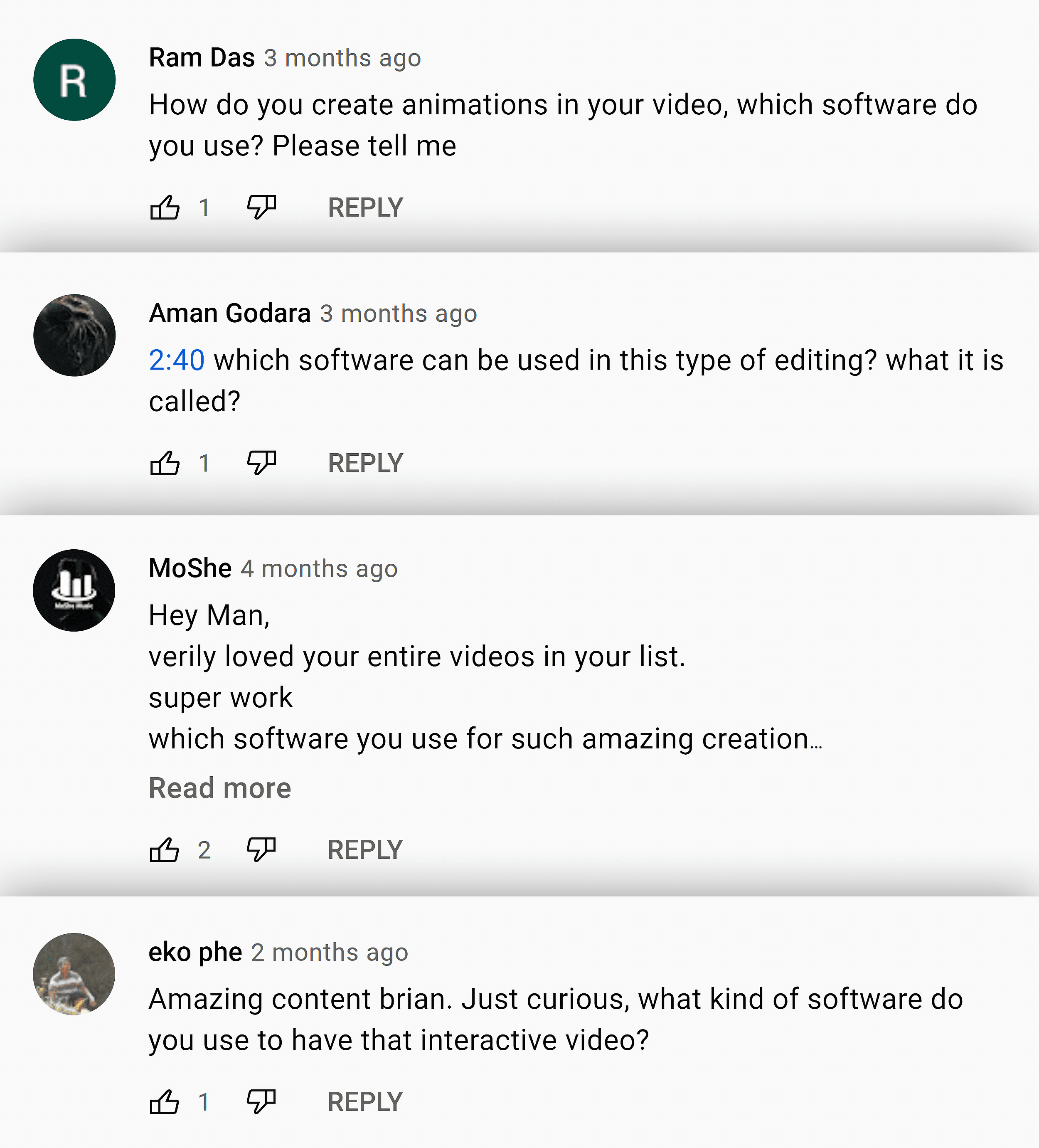 Comments about video software
