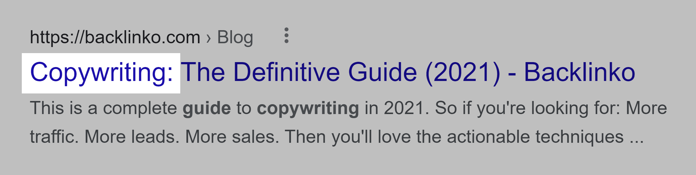 Copywriting guide – Keyword in title
