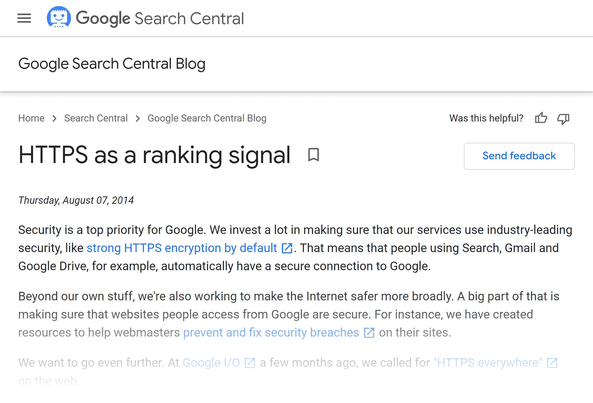Google blog – HTTPS as a ranking signal